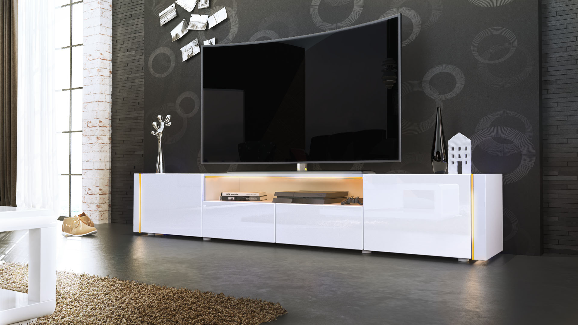 tv lowboard board schrank tisch m bel marino v2 in wei hochglanz naturt ne ebay. Black Bedroom Furniture Sets. Home Design Ideas