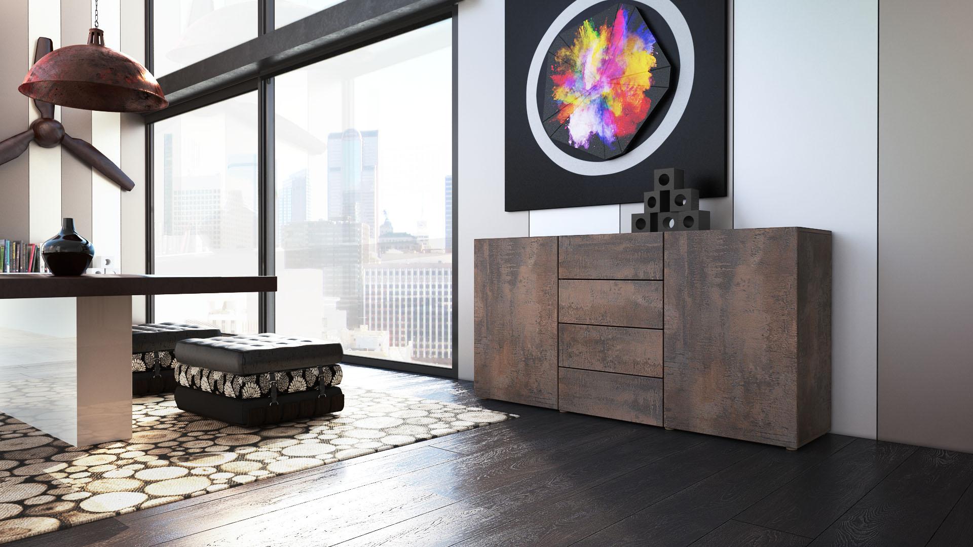 tv lowboard board schrank tisch m bel regal unterschrank massa stahlfarben antik. Black Bedroom Furniture Sets. Home Design Ideas