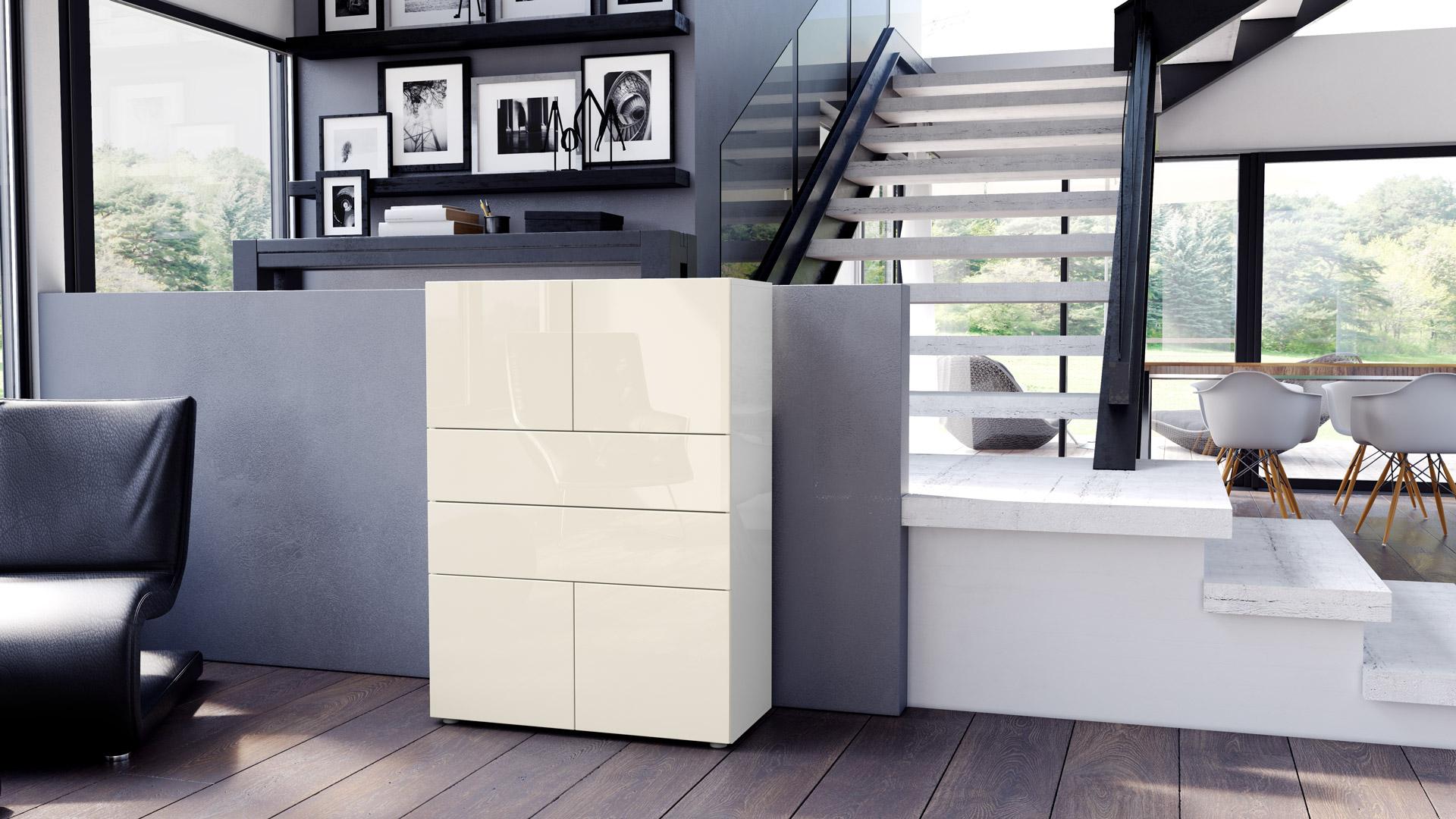 kommode schrank anrichte sideboard massa v2 in wei hochglanz naturt ne. Black Bedroom Furniture Sets. Home Design Ideas