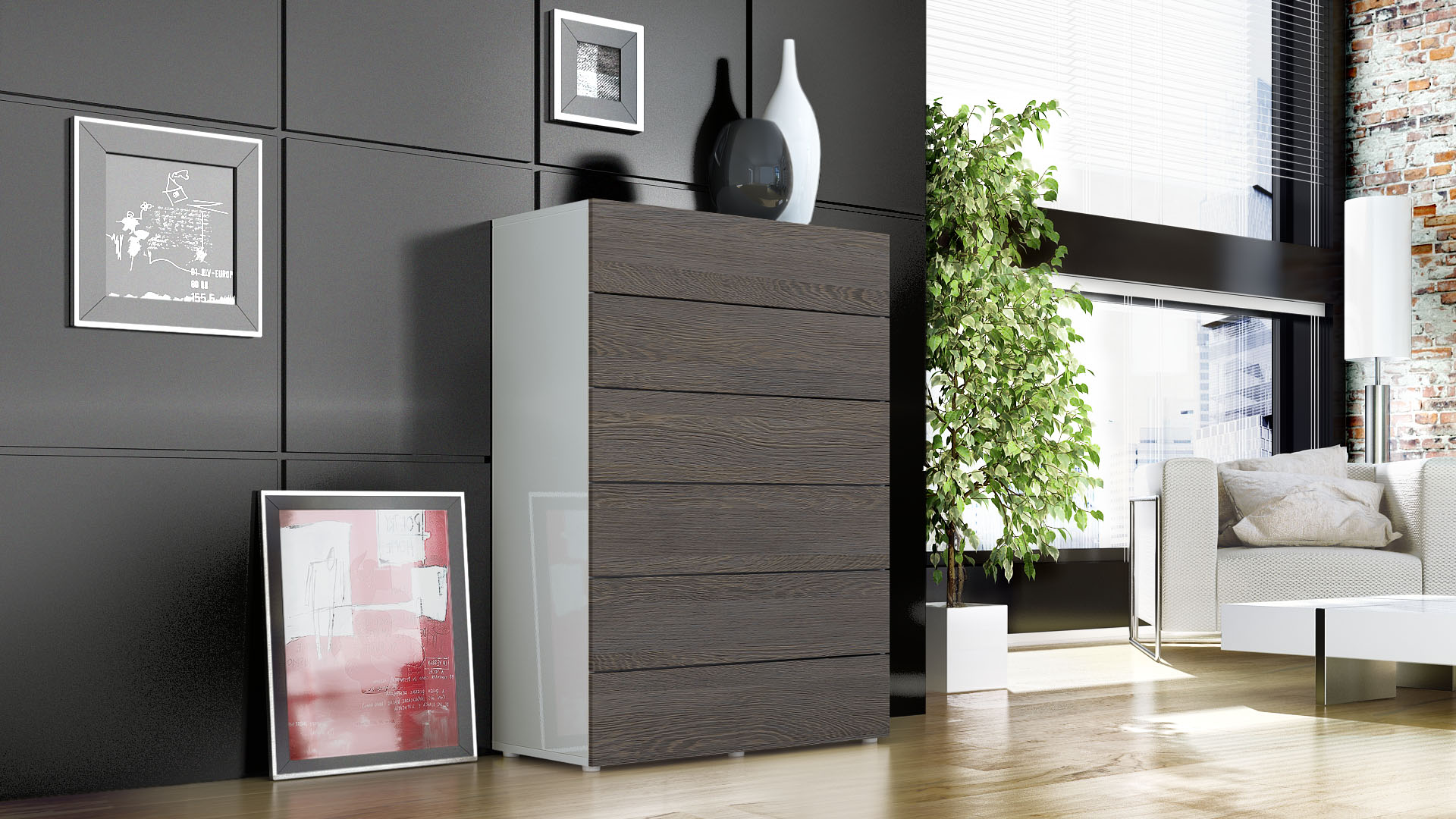 kommode schrank anrichte sideboard massa v3 in wei. Black Bedroom Furniture Sets. Home Design Ideas