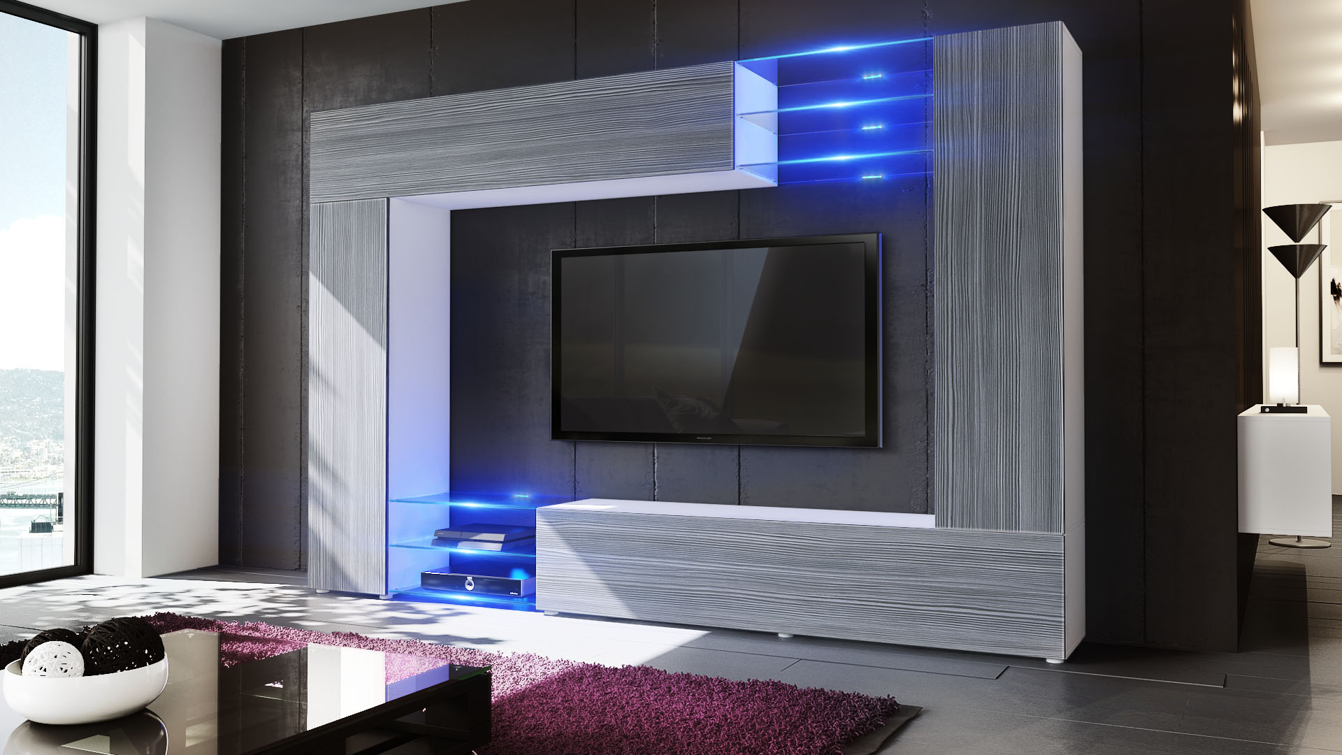 Wall unit living room furniture mirage white high gloss for Wohnwand tv