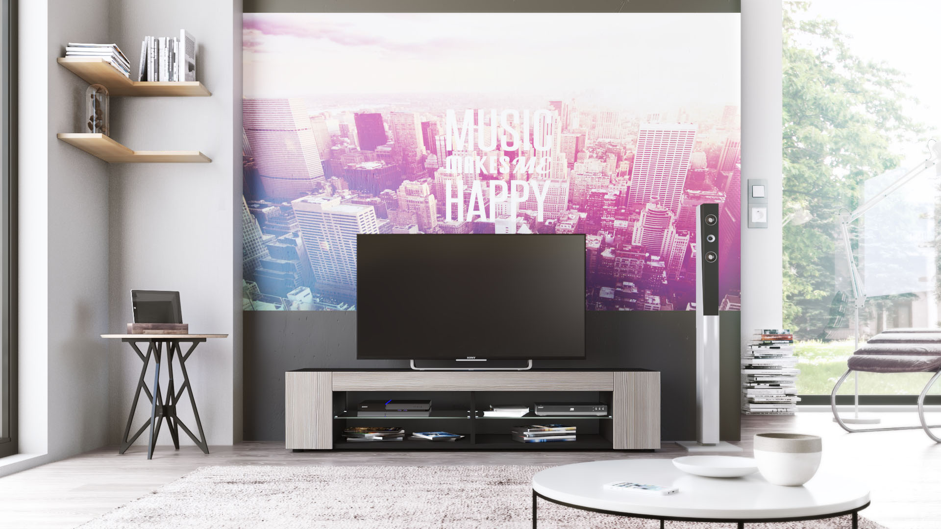 Meuble tv armoire basse movie en noir fa ades en coloris for Meuble tv armoire