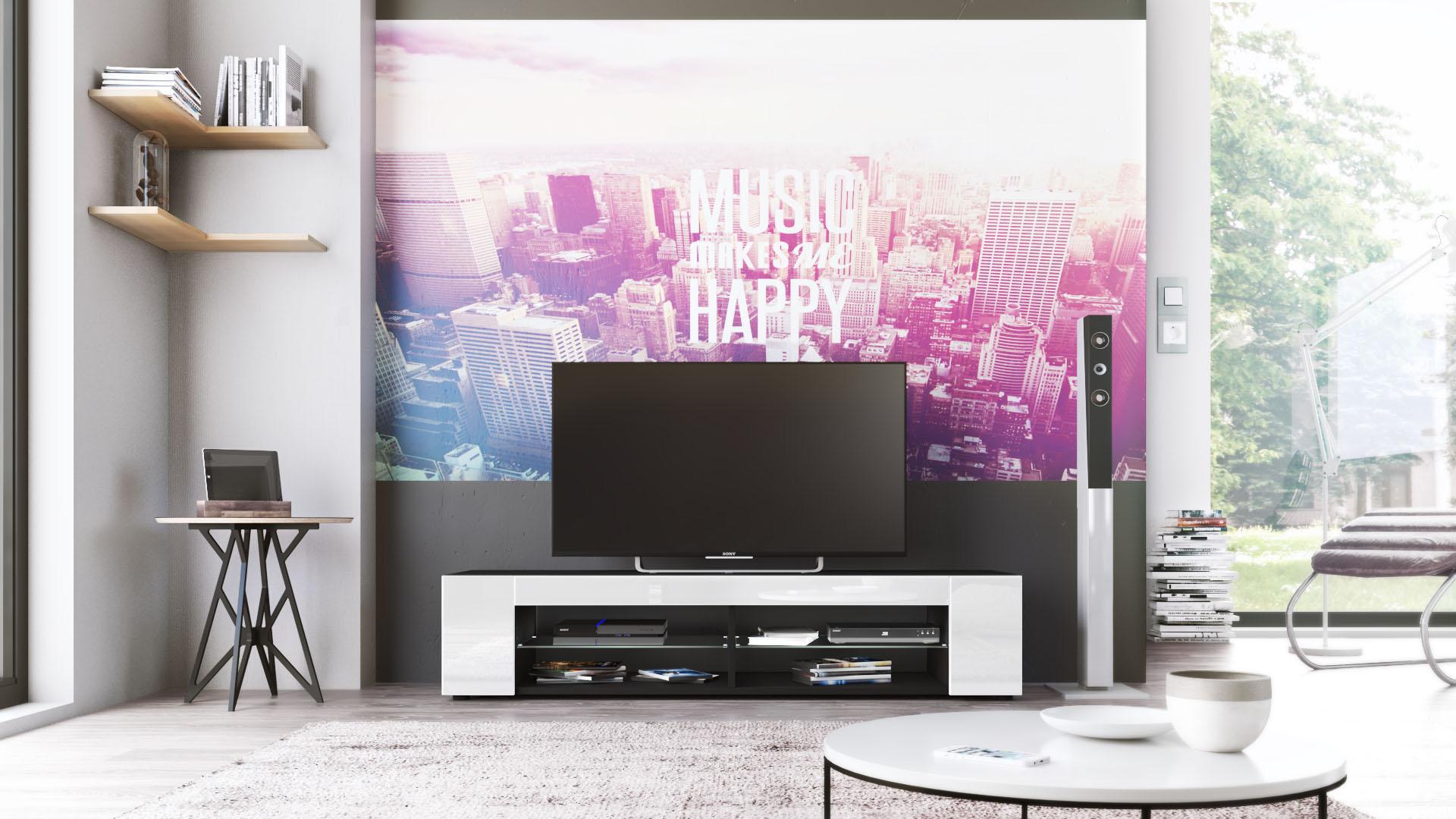 tv lowboard board schrank fernsehtisch movie in schwarz hochglanz amp. Black Bedroom Furniture Sets. Home Design Ideas