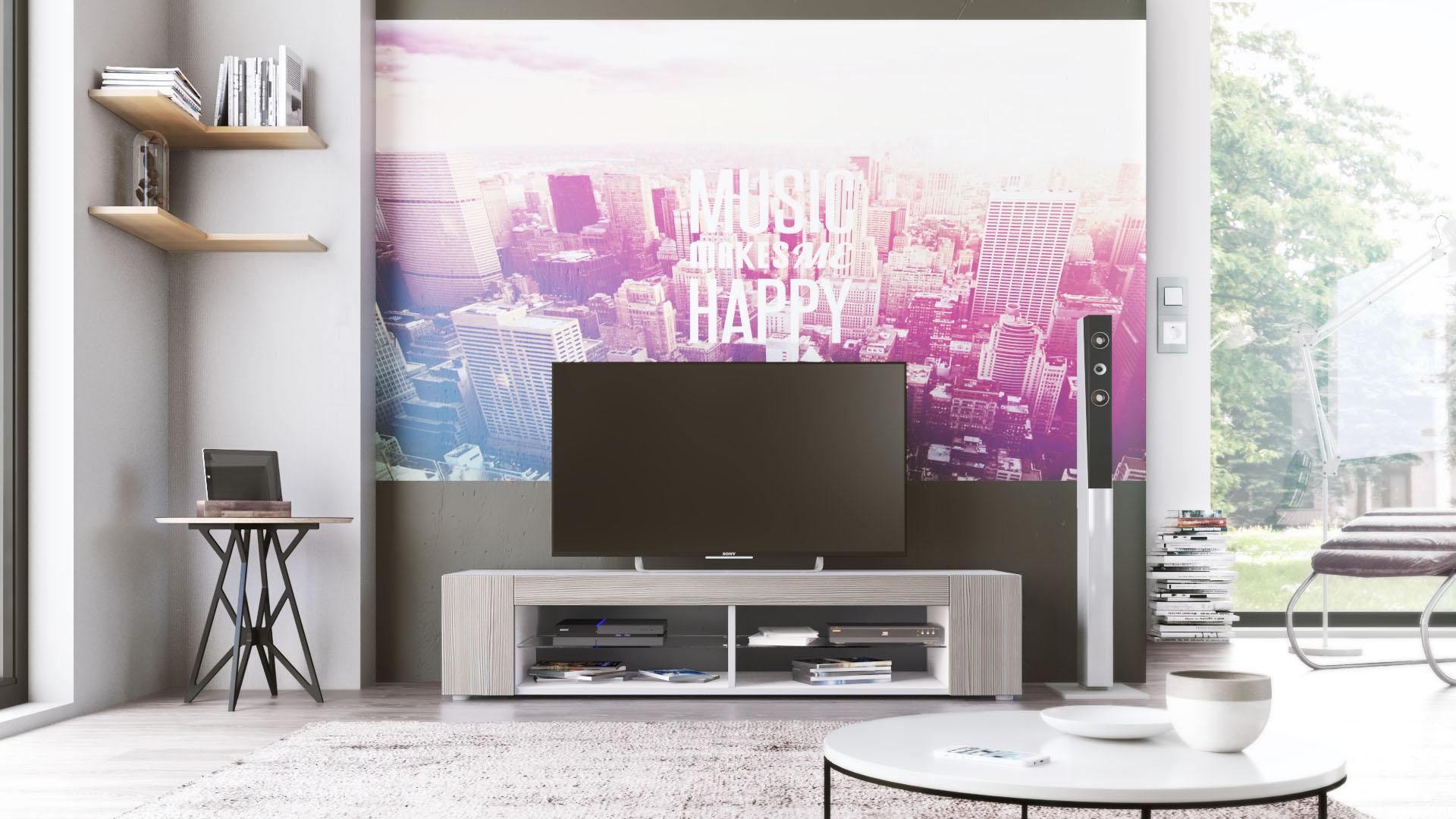 TV Lowboard Board Schrank Fernsehtisch Movie in Weiß  ~ Tv Schrank Ebay