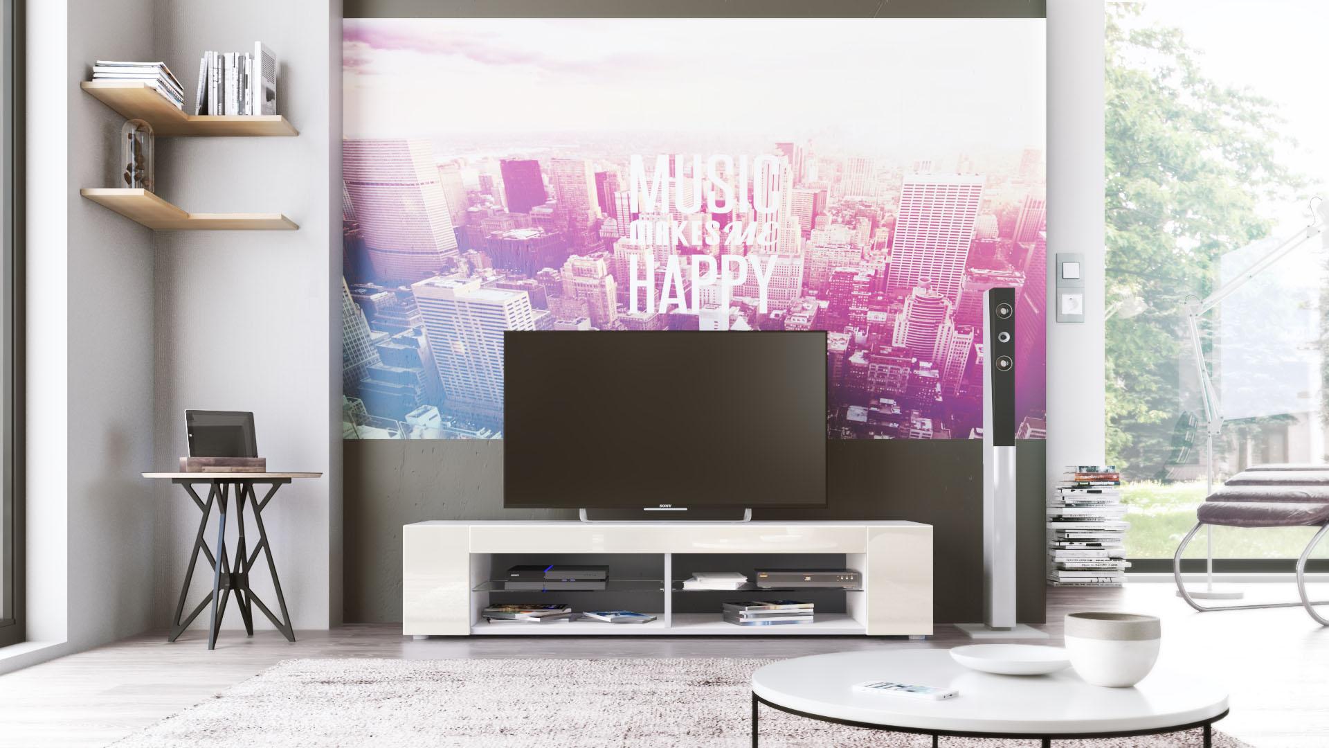 TV Lowboard Board Schrank Fernsehtisch Movie in Weiß  ~ Tv Schrank Creme