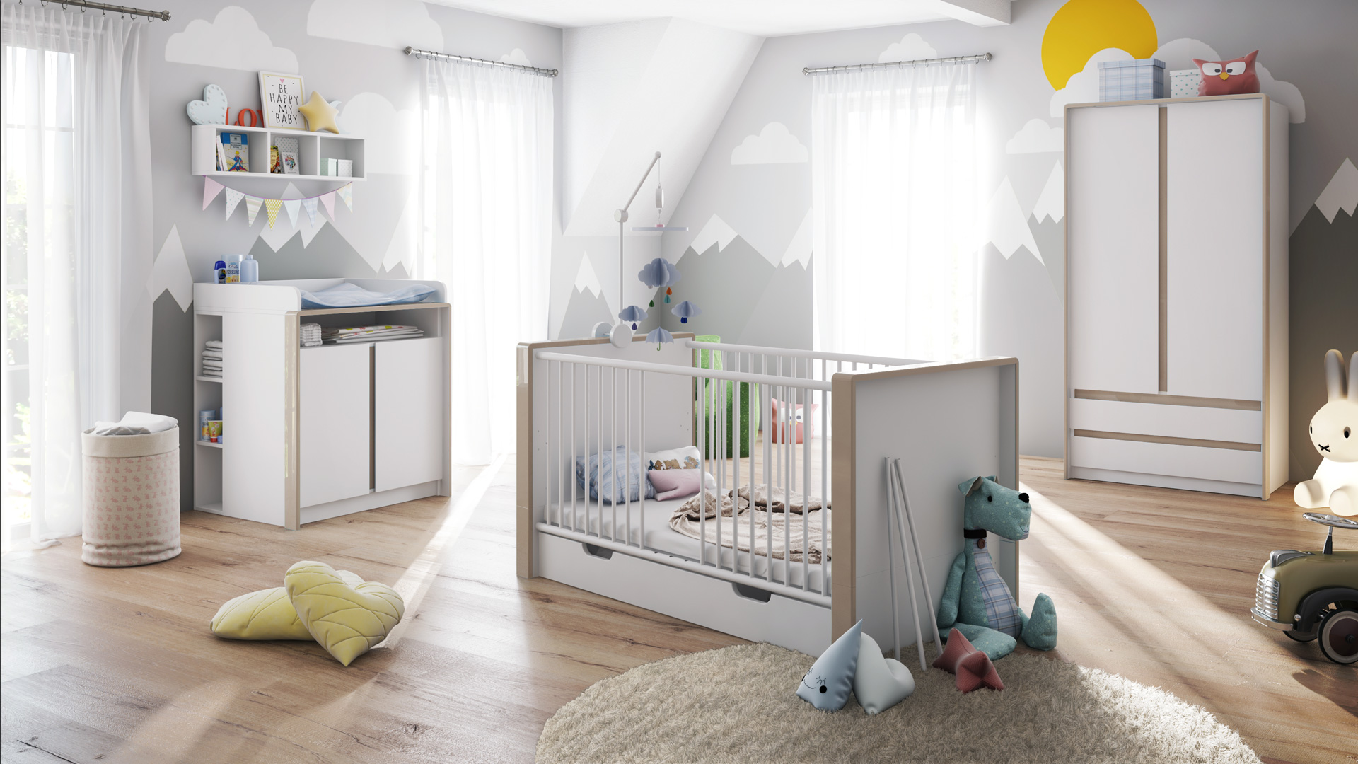 babyzimmer kinderzimmer schrank bett wickelkommode umbaubar nandini set 1 wei ebay. Black Bedroom Furniture Sets. Home Design Ideas