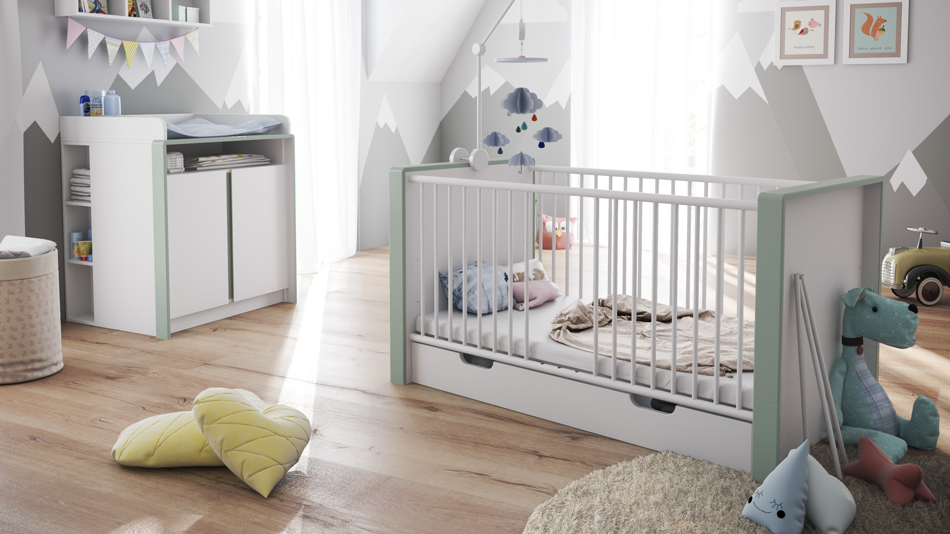 babyzimmer kinderzimmer bett wickelkommode babym bel umbaubar nandini set 2 wei ebay. Black Bedroom Furniture Sets. Home Design Ideas