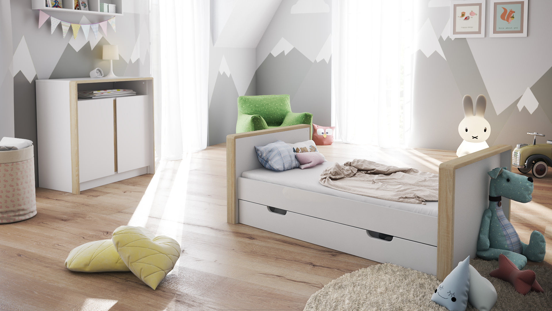 babyzimmer kinderzimmer bett wickelkommode babym bel. Black Bedroom Furniture Sets. Home Design Ideas