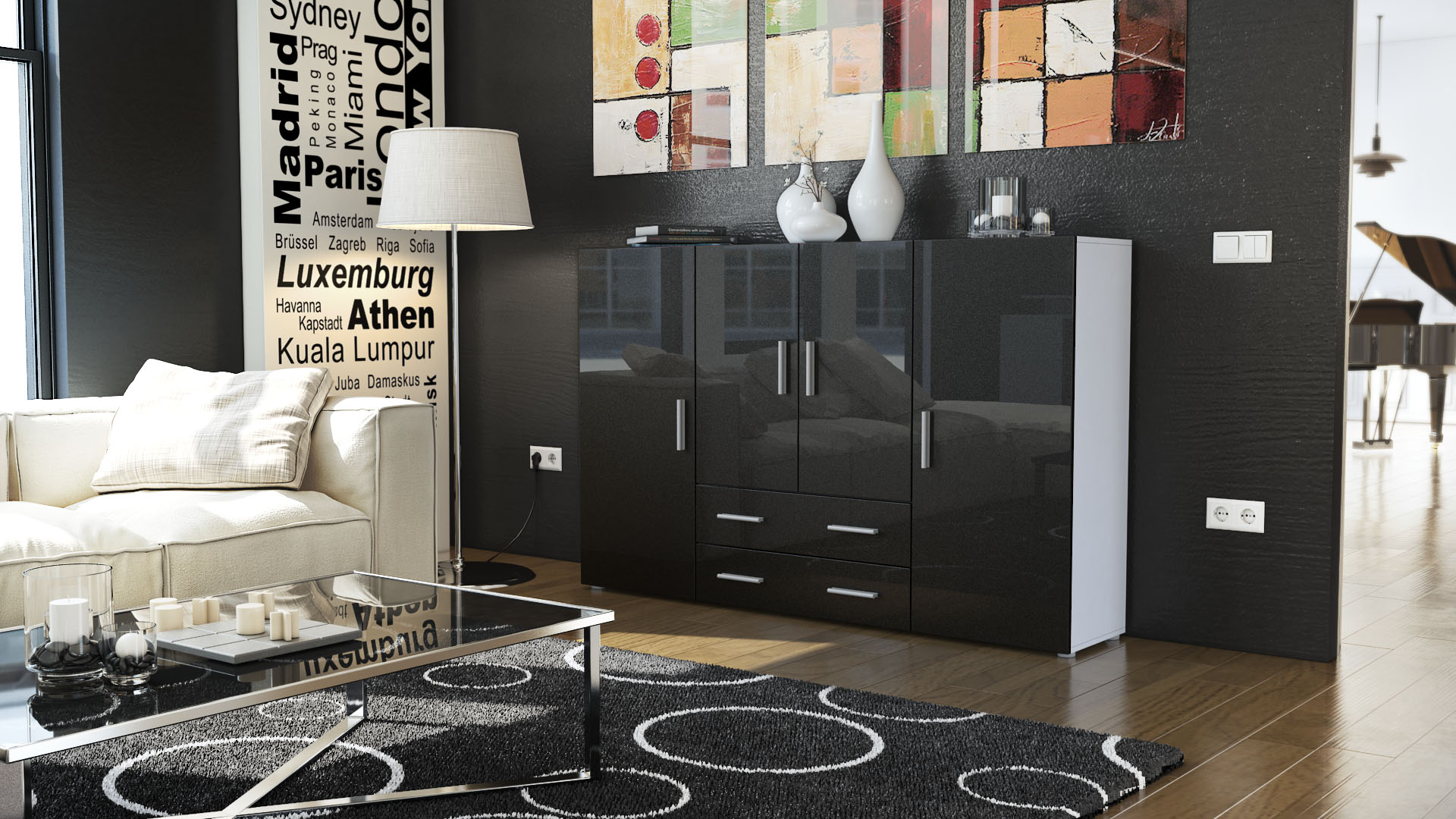 highboard sideboard kommode nora in wei hochglanz. Black Bedroom Furniture Sets. Home Design Ideas