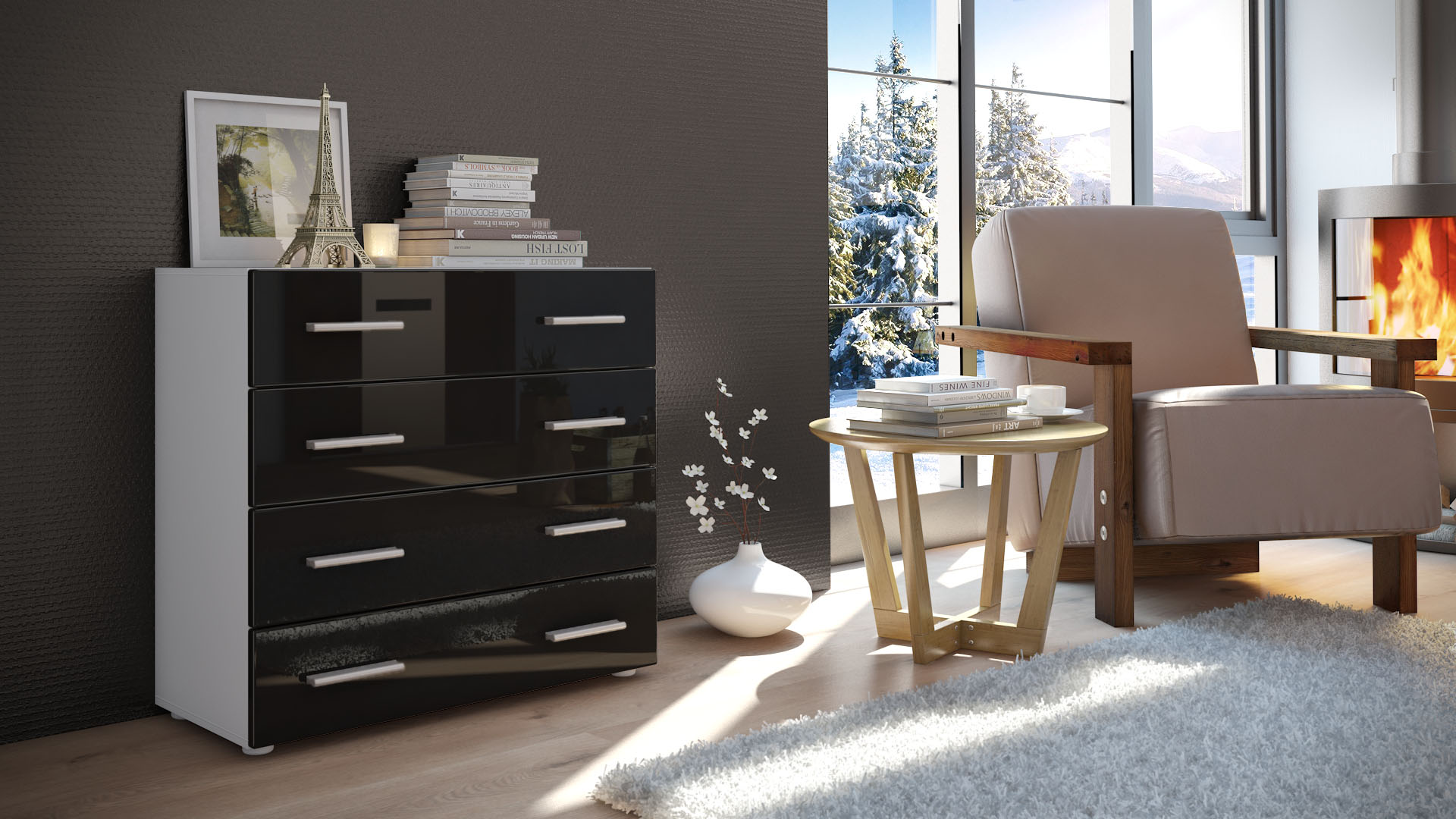 kommode schrank anrichte sideboard pavos in wei hochglanz naturt ne ebay. Black Bedroom Furniture Sets. Home Design Ideas