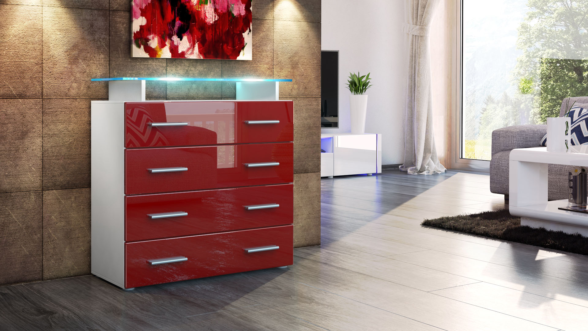 sideboard wei hochglanz poco interessante. Black Bedroom Furniture Sets. Home Design Ideas