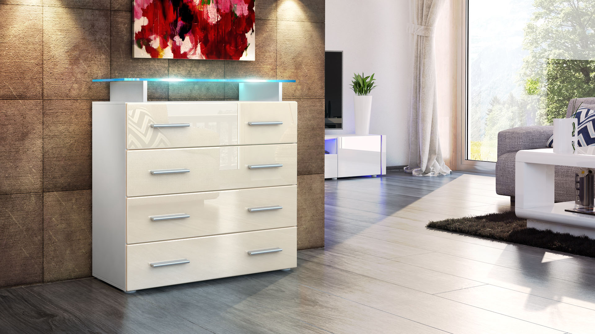 kommode schrank anrichte sideboard pavos v2 in wei hochglanz naturt ne ebay. Black Bedroom Furniture Sets. Home Design Ideas