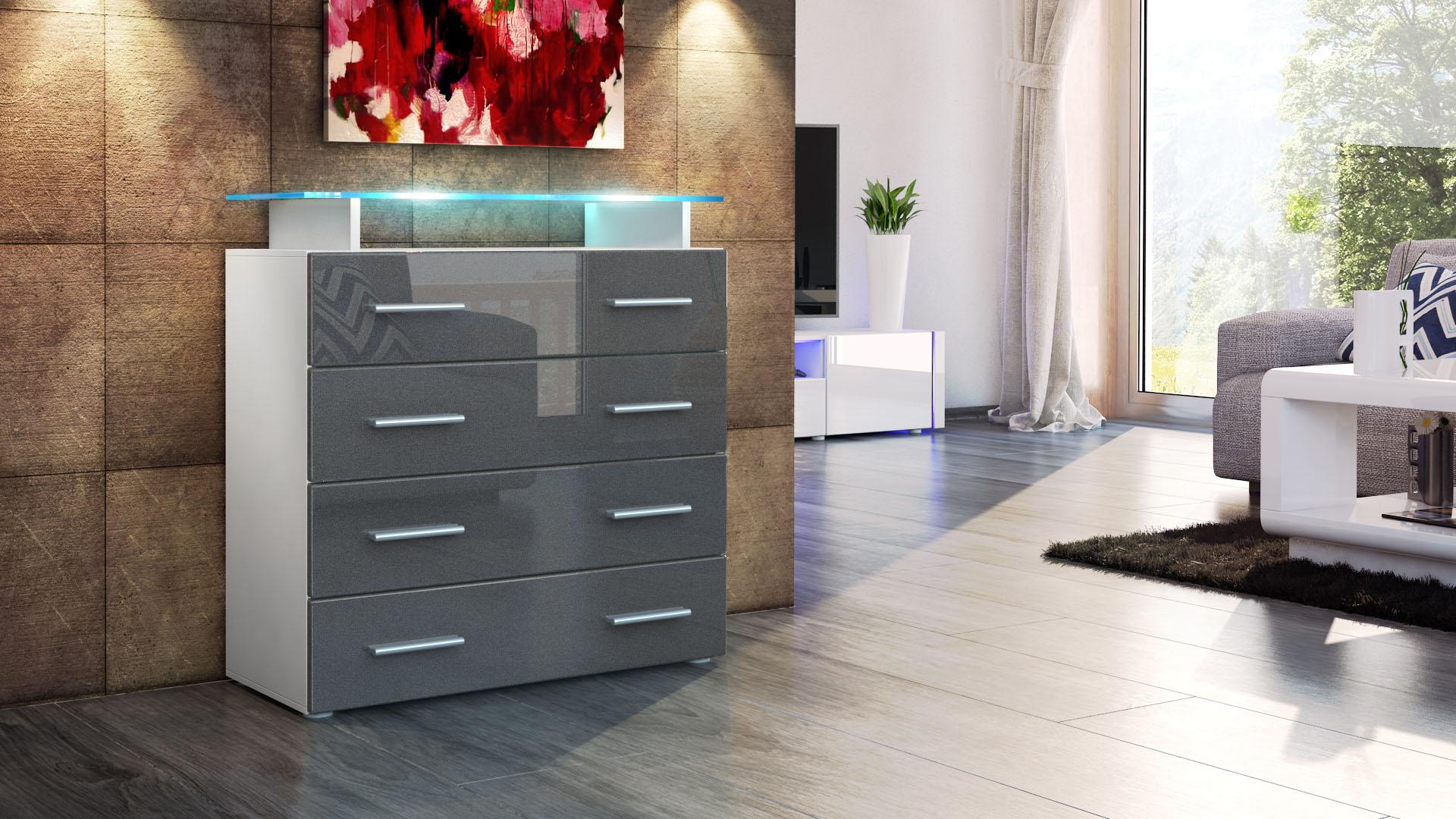 kommode schrank anrichte sideboard pavos v2 in wei. Black Bedroom Furniture Sets. Home Design Ideas