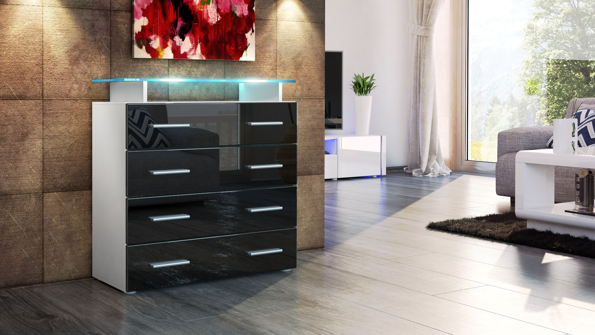 kommode nussbaum schwarz hochglanz heimdesign. Black Bedroom Furniture Sets. Home Design Ideas