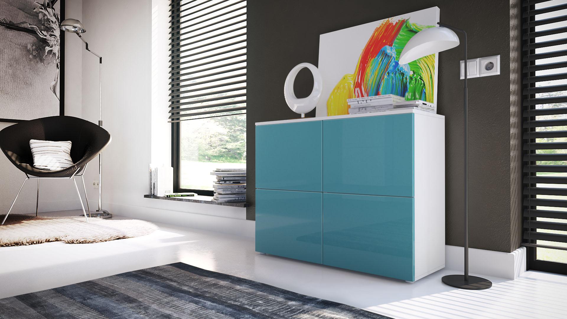 Cabinet sideboard cupboard rova white high gloss for Sideboard petrol