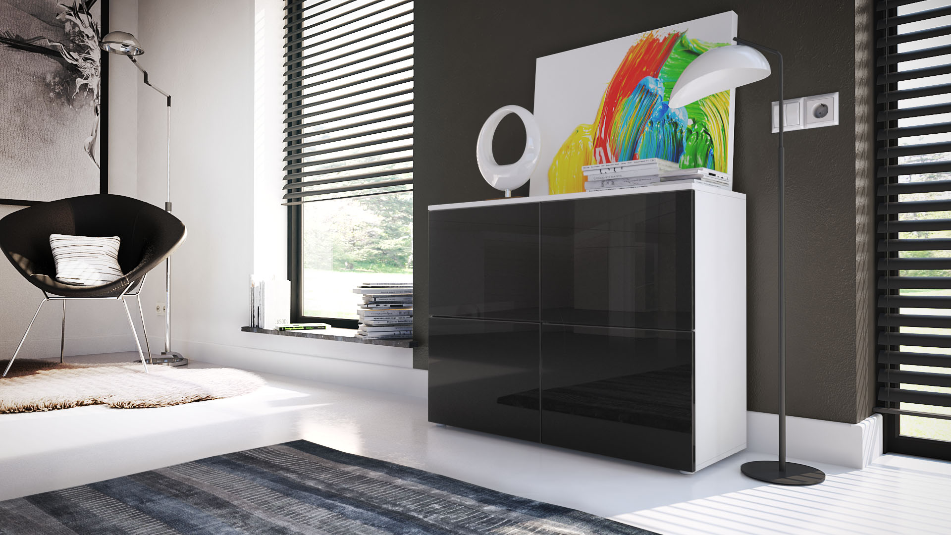 kommode schrank anrichte sideboard rova in wei. Black Bedroom Furniture Sets. Home Design Ideas