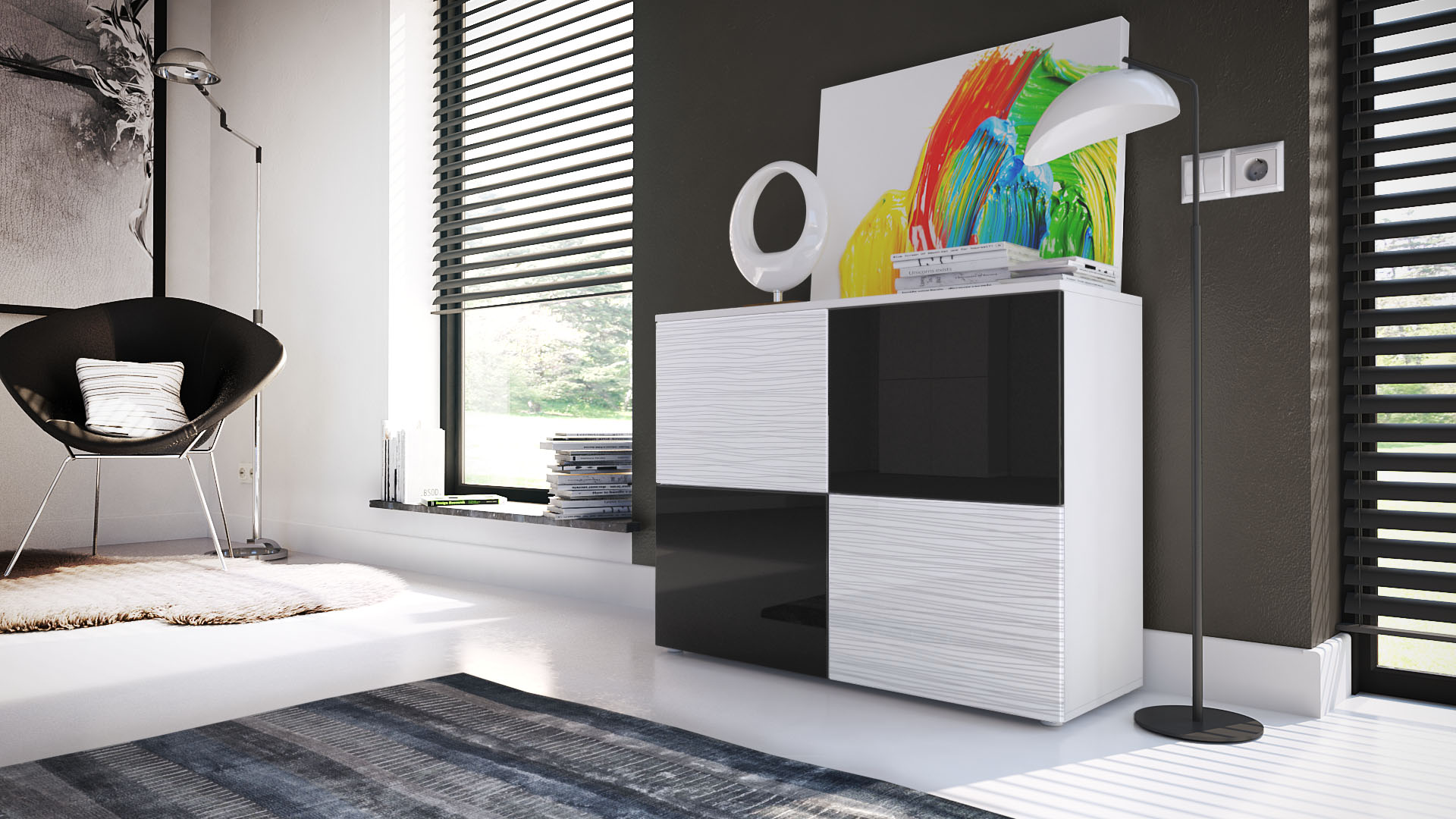 kommode schrank anrichte sideboard rova in wei wei oder schwarz silverline ebay. Black Bedroom Furniture Sets. Home Design Ideas