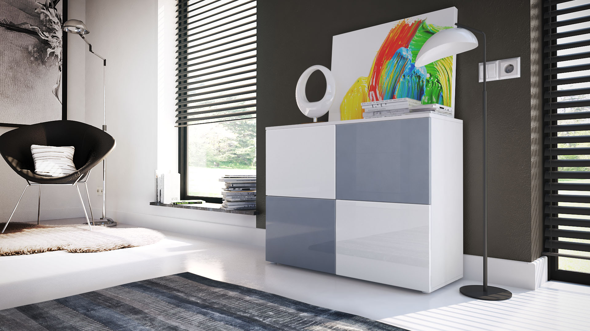 kommode schrank anrichte sideboard rova in wei hochglanz naturt ne ebay. Black Bedroom Furniture Sets. Home Design Ideas