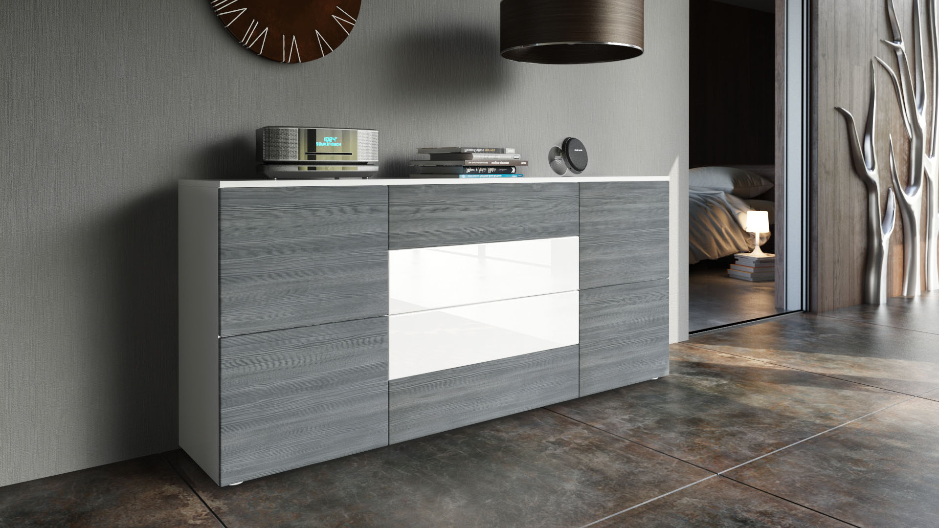 sideboard tv board anrichte kommode rova in wei hochglanz naturt ne ebay. Black Bedroom Furniture Sets. Home Design Ideas