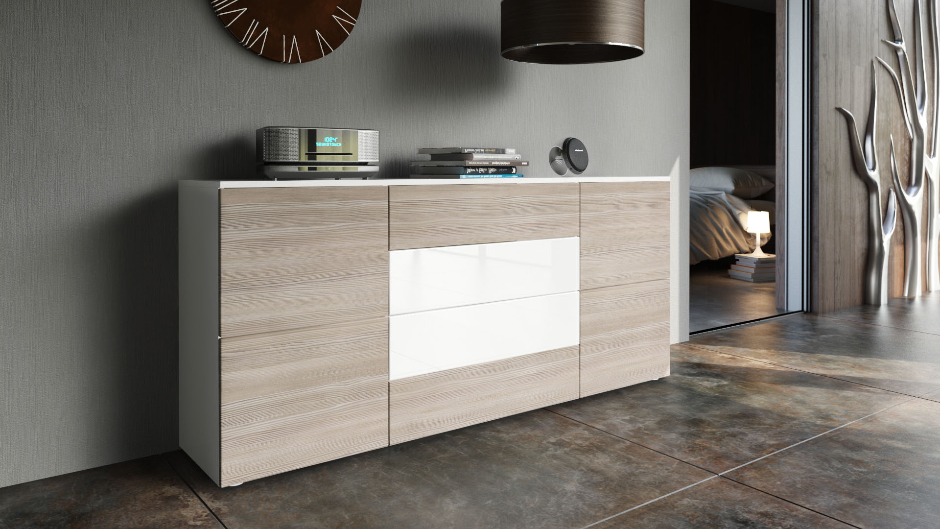 sideboard cabinet rova in white high gloss natural tones ebay. Black Bedroom Furniture Sets. Home Design Ideas