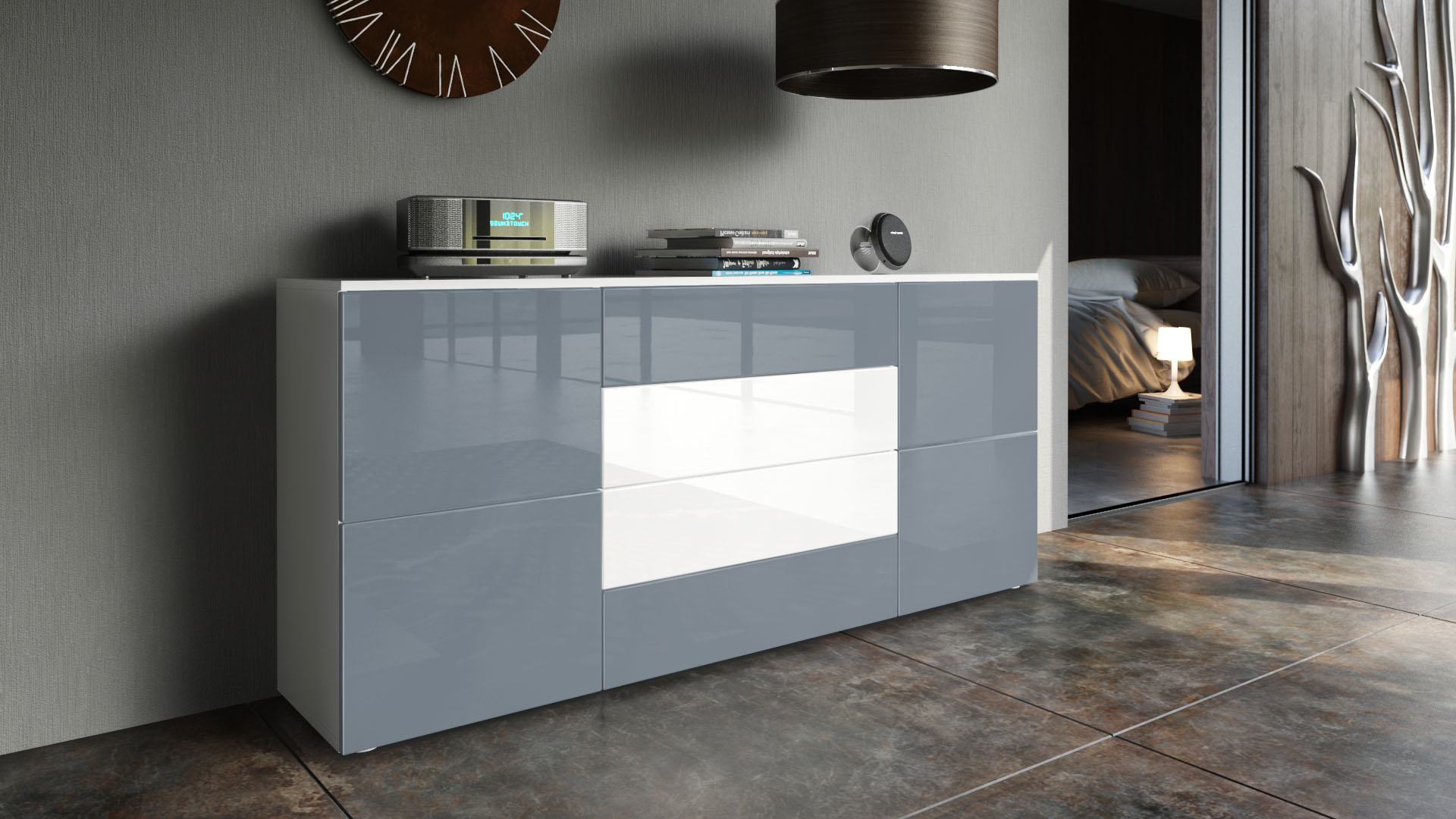 Sideboard Cabinet Rova In White