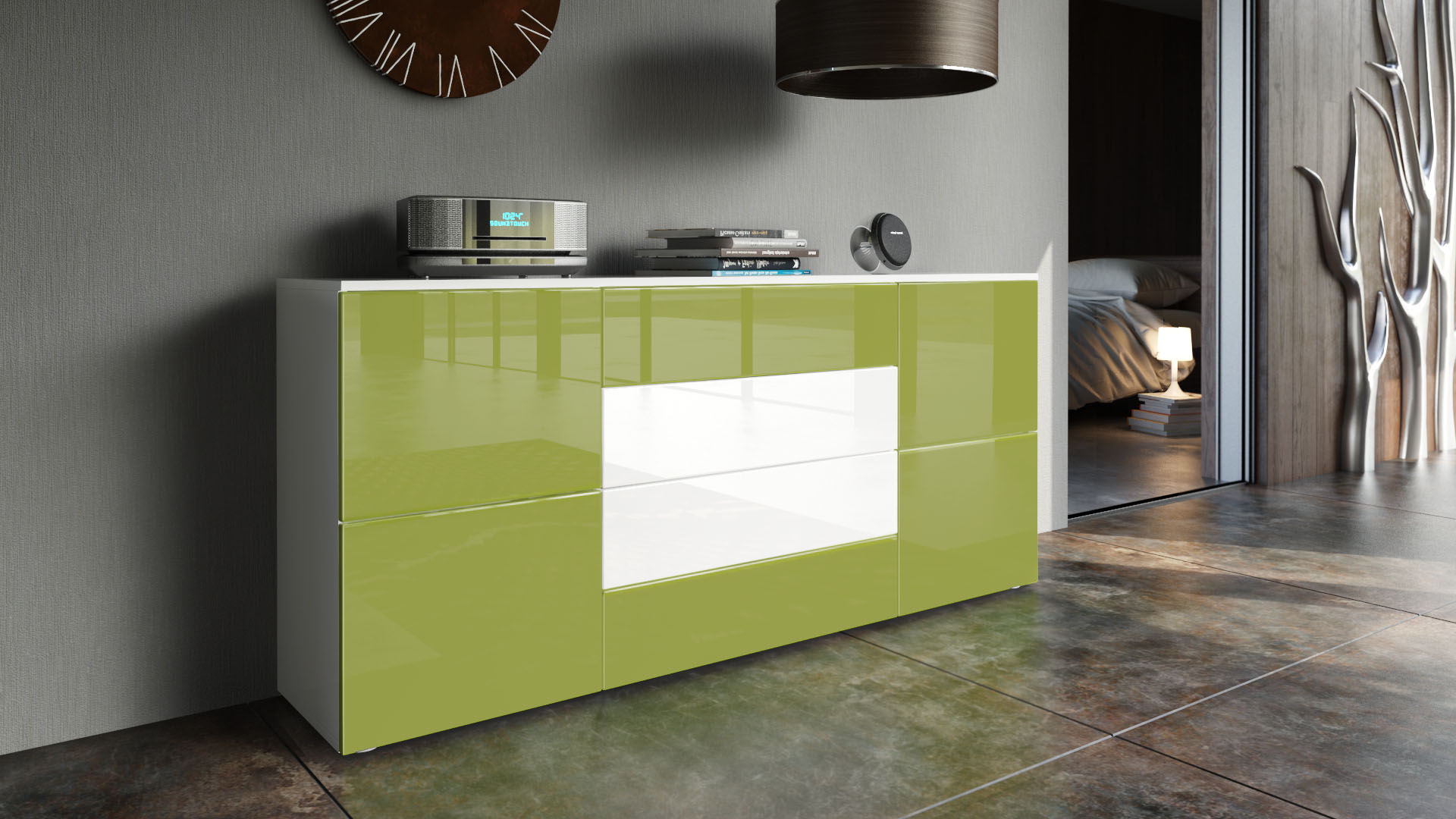 Sideboard cabinet rova in white high gloss natural for Sideboard petrol