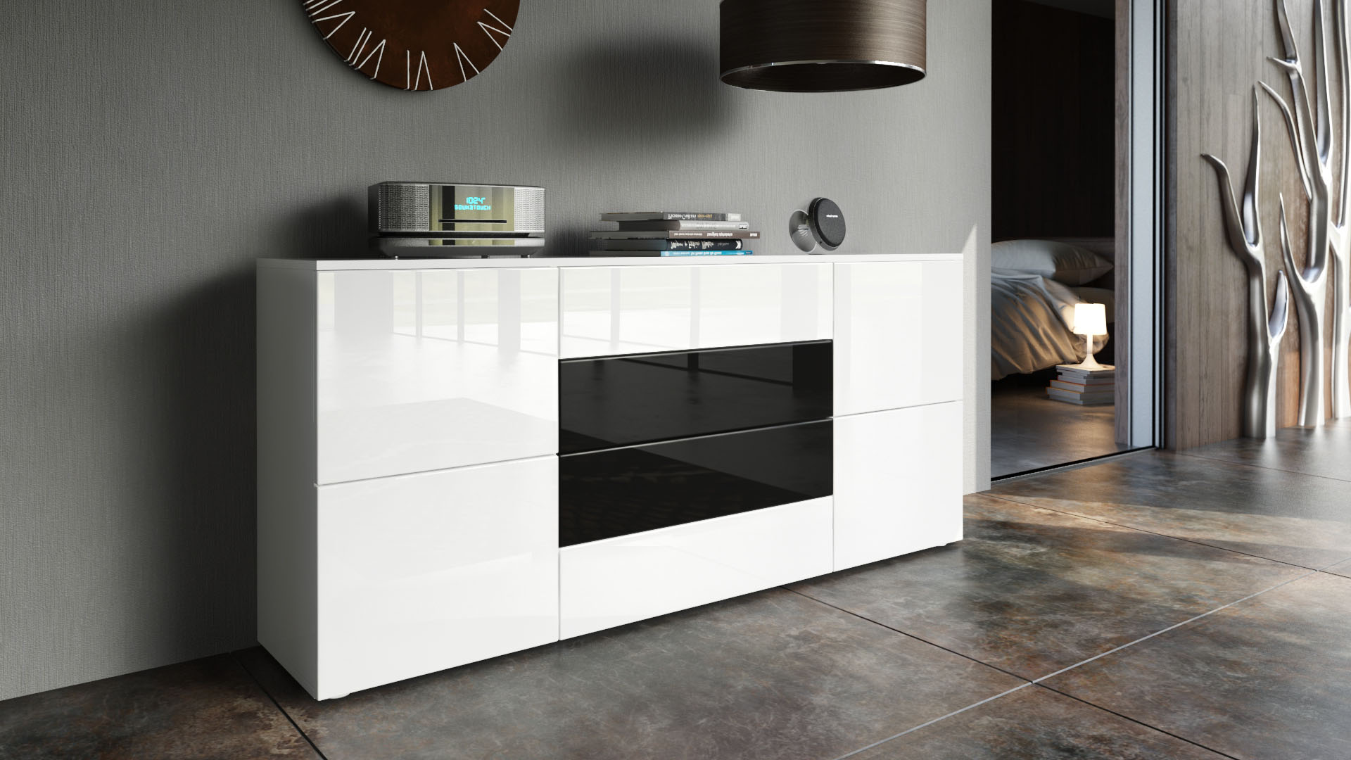 sideboard tv board anrichte kommode rova in wei hochglanz naturt ne. Black Bedroom Furniture Sets. Home Design Ideas