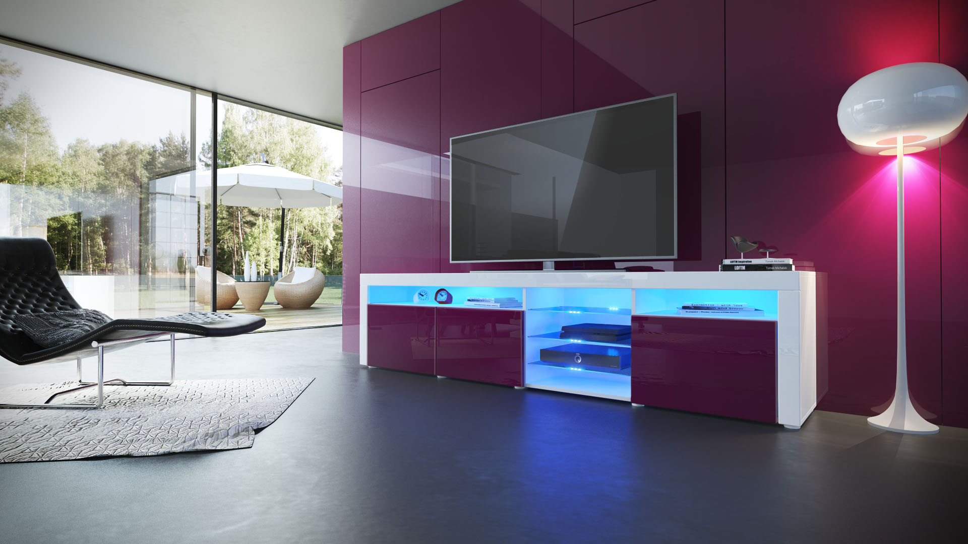 tv lowboard board schrank tisch m bel santa fe in wei. Black Bedroom Furniture Sets. Home Design Ideas