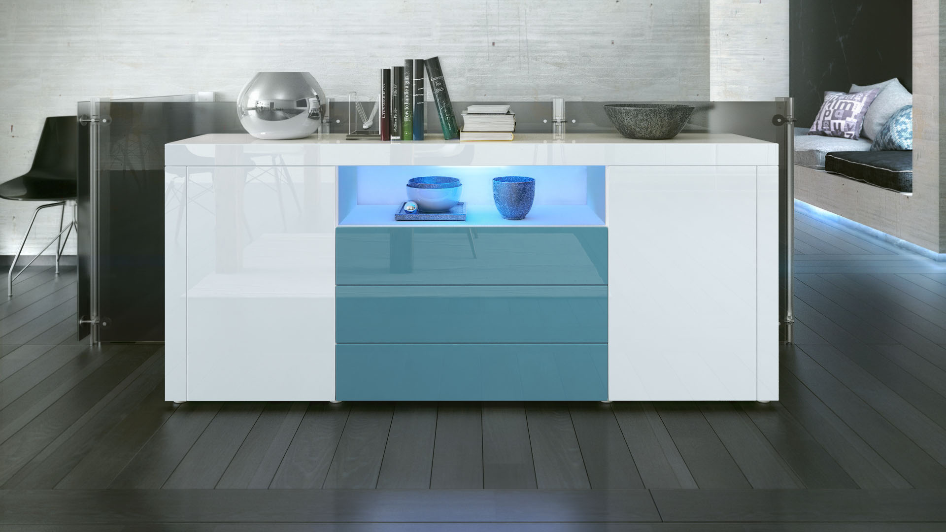 Sideboard cabinet chest of drawers santiago white high for Sideboard petrol