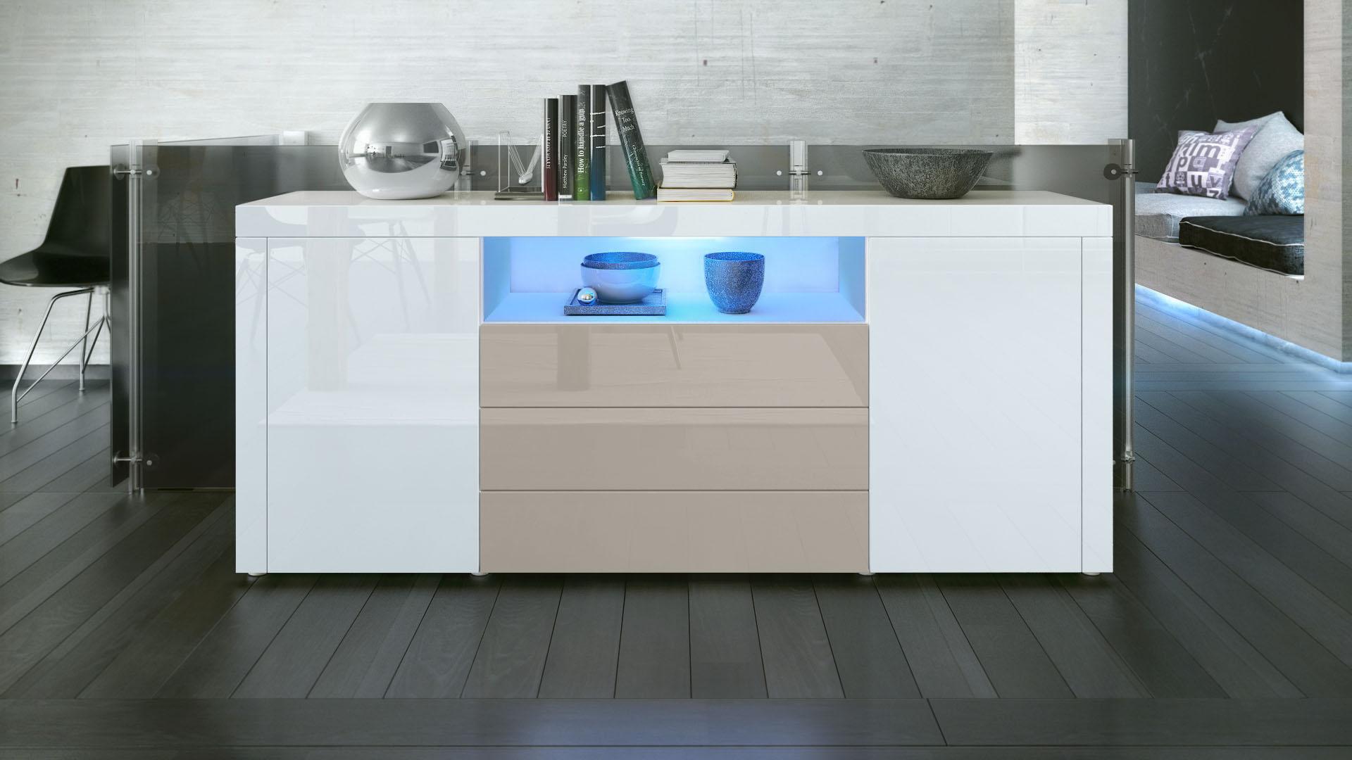 sideboard cabinet chest of drawers santiago white high gloss natural tones ebay. Black Bedroom Furniture Sets. Home Design Ideas