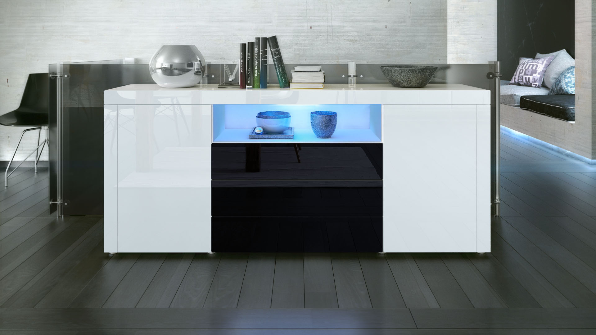 sideboard tv board anrichte kommode santiago in wei hochglanz naturt ne ebay. Black Bedroom Furniture Sets. Home Design Ideas