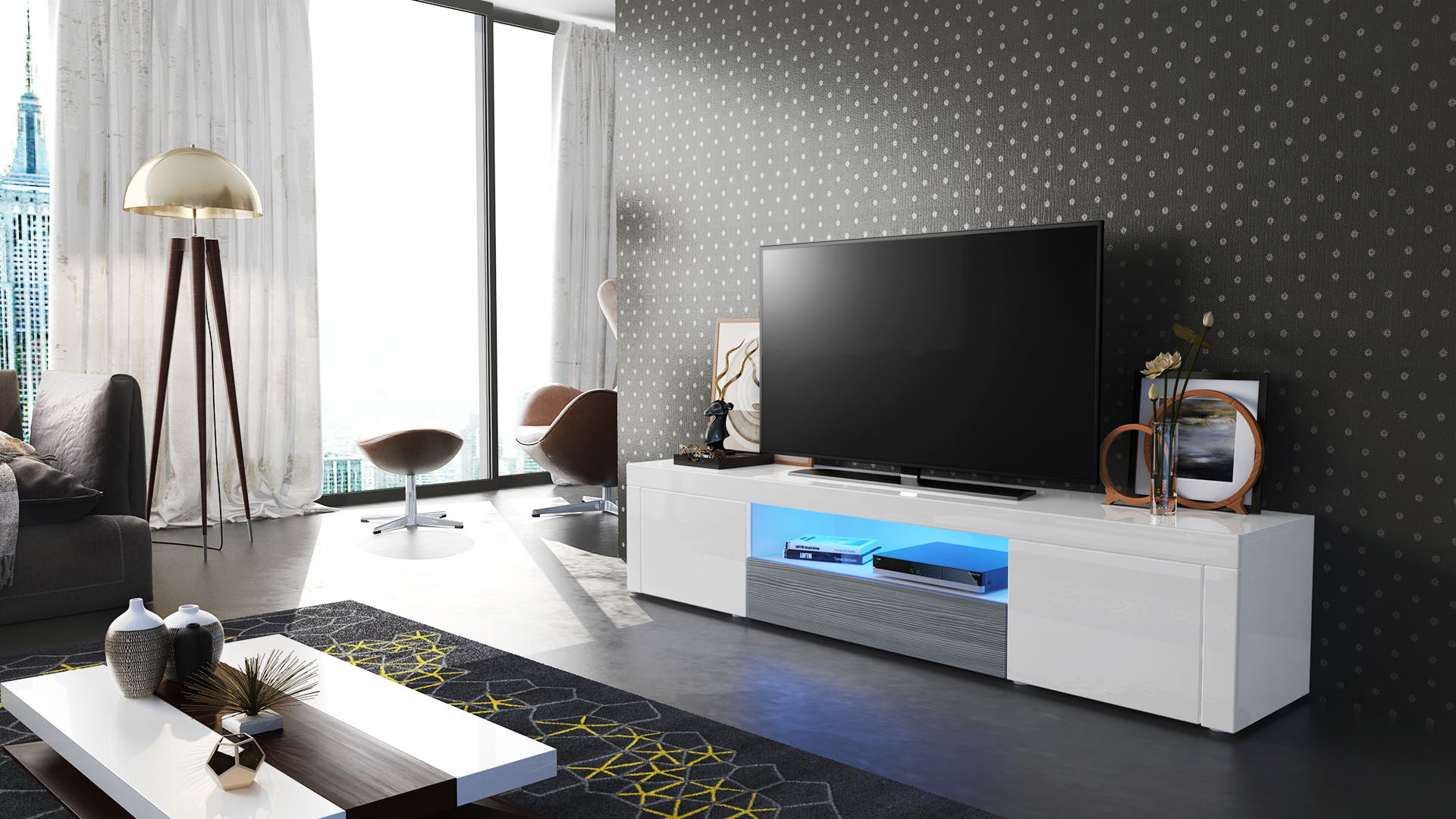 tv lowboard board schrank tisch m bel santiago wei. Black Bedroom Furniture Sets. Home Design Ideas