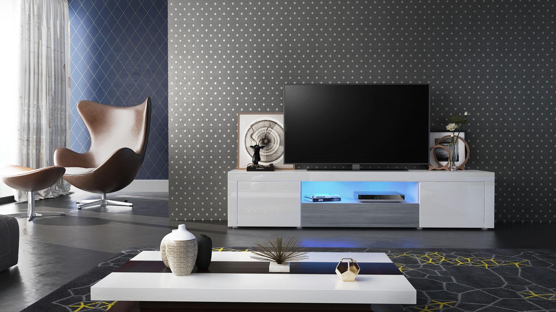 tv lowboard board schrank tisch m bel santiago wei hochglanz naturt ne ebay. Black Bedroom Furniture Sets. Home Design Ideas