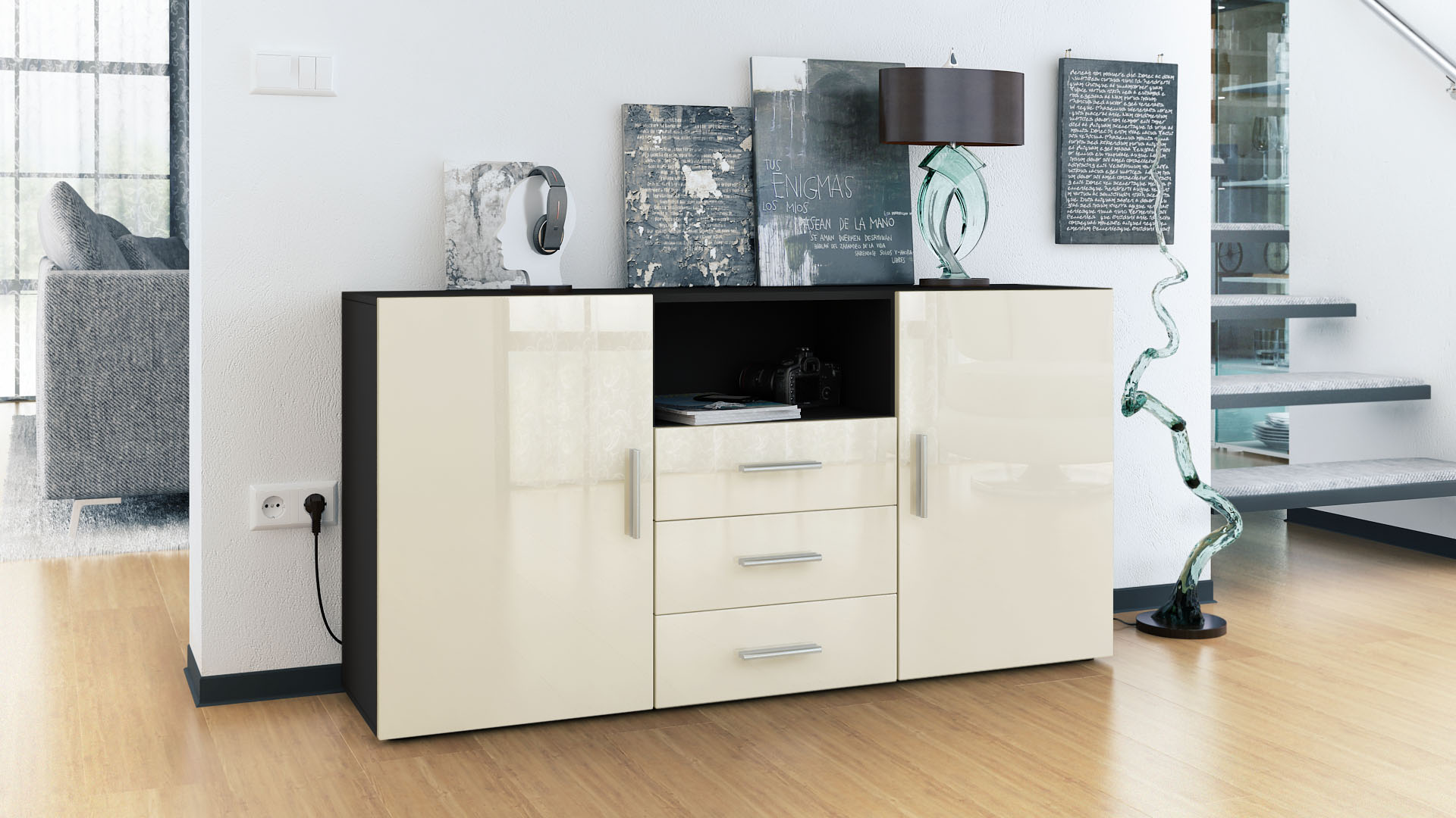 sideboard tv board anrichte kommode skadu schwarz in. Black Bedroom Furniture Sets. Home Design Ideas