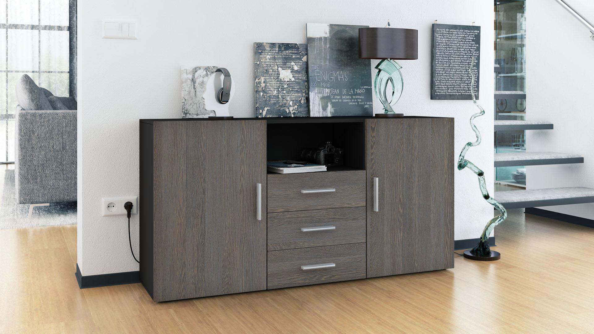 sideboard tv board anrichte kommode skadu schwarz in hochglanz naturt nen ebay. Black Bedroom Furniture Sets. Home Design Ideas