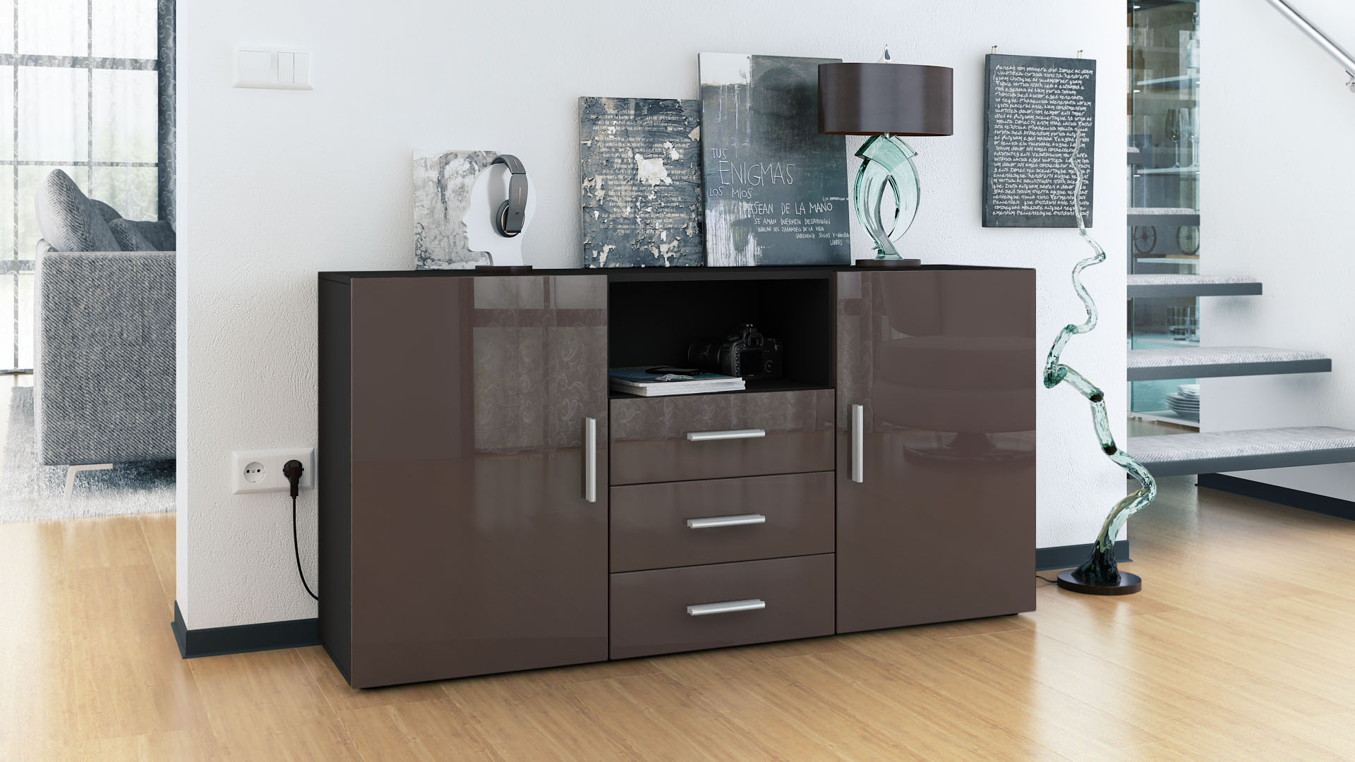 sideboard tv board anrichte kommode skadu schwarz in hochglanz naturt nen ebay. Black Bedroom Furniture Sets. Home Design Ideas