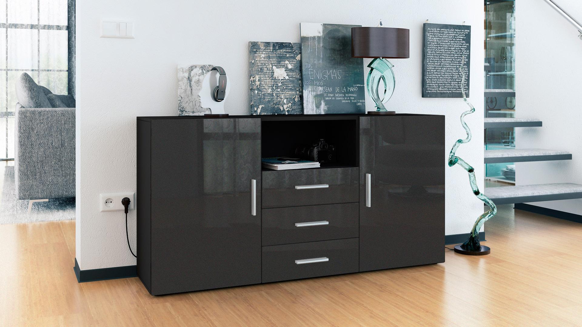 sideboard cabinet chest of drawers skadu black high. Black Bedroom Furniture Sets. Home Design Ideas