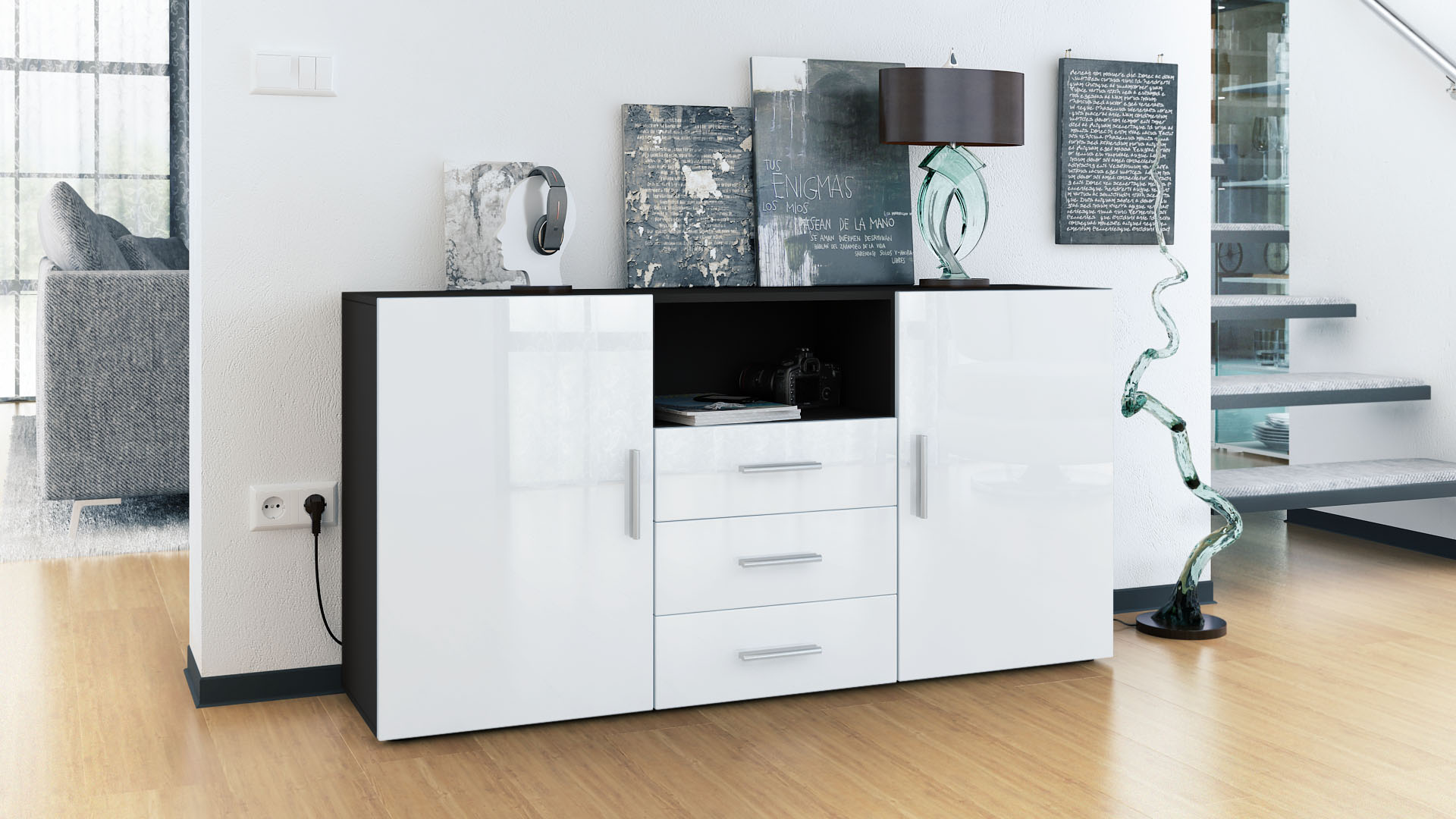 sideboard cabinet chest of drawers skadu black high. Black Bedroom Furniture Sets. Home Design Ideas