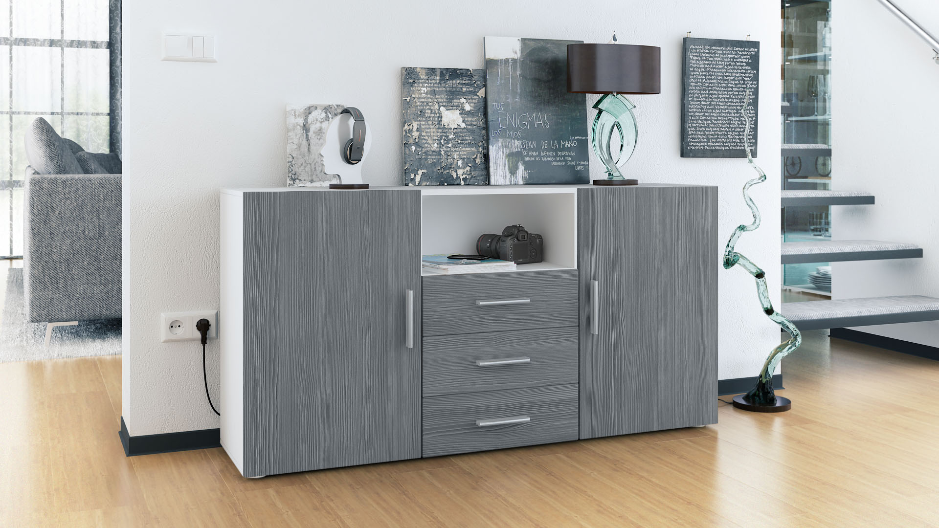 sideboard tv board anrichte kommode skadu wei in hochglanz naturt nen. Black Bedroom Furniture Sets. Home Design Ideas