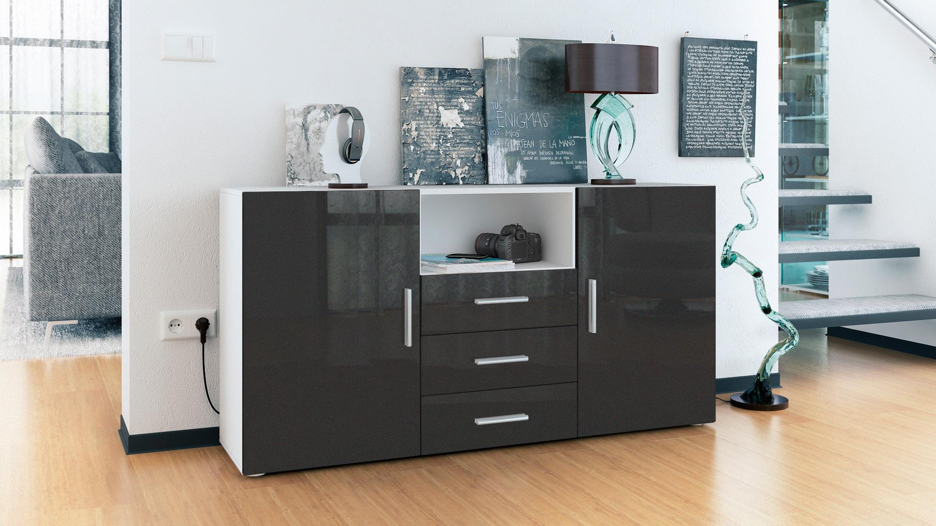 sideboard tv board anrichte kommode skadu wei in hochglanz naturt nen ebay. Black Bedroom Furniture Sets. Home Design Ideas
