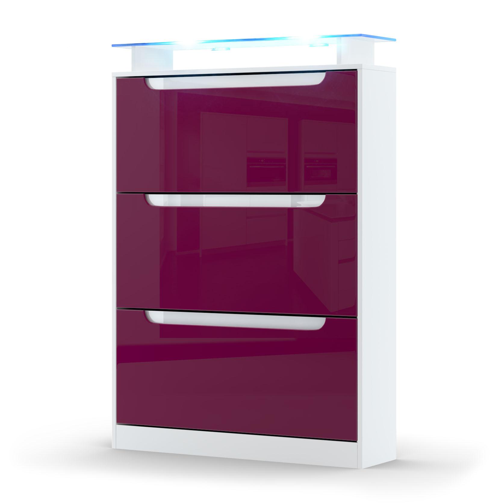 schuhschrank schuhkipper diele flur space in wei hochglanz naturt ne ebay. Black Bedroom Furniture Sets. Home Design Ideas