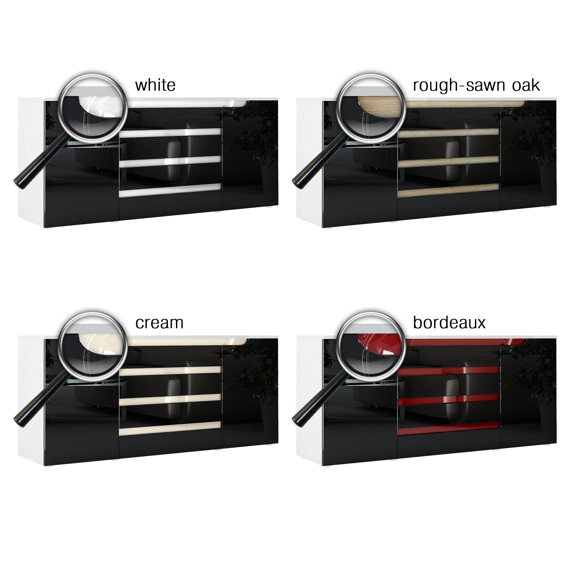 sideboard chest of drawers cabinet sylt v2 white high gloss natural tones ebay. Black Bedroom Furniture Sets. Home Design Ideas