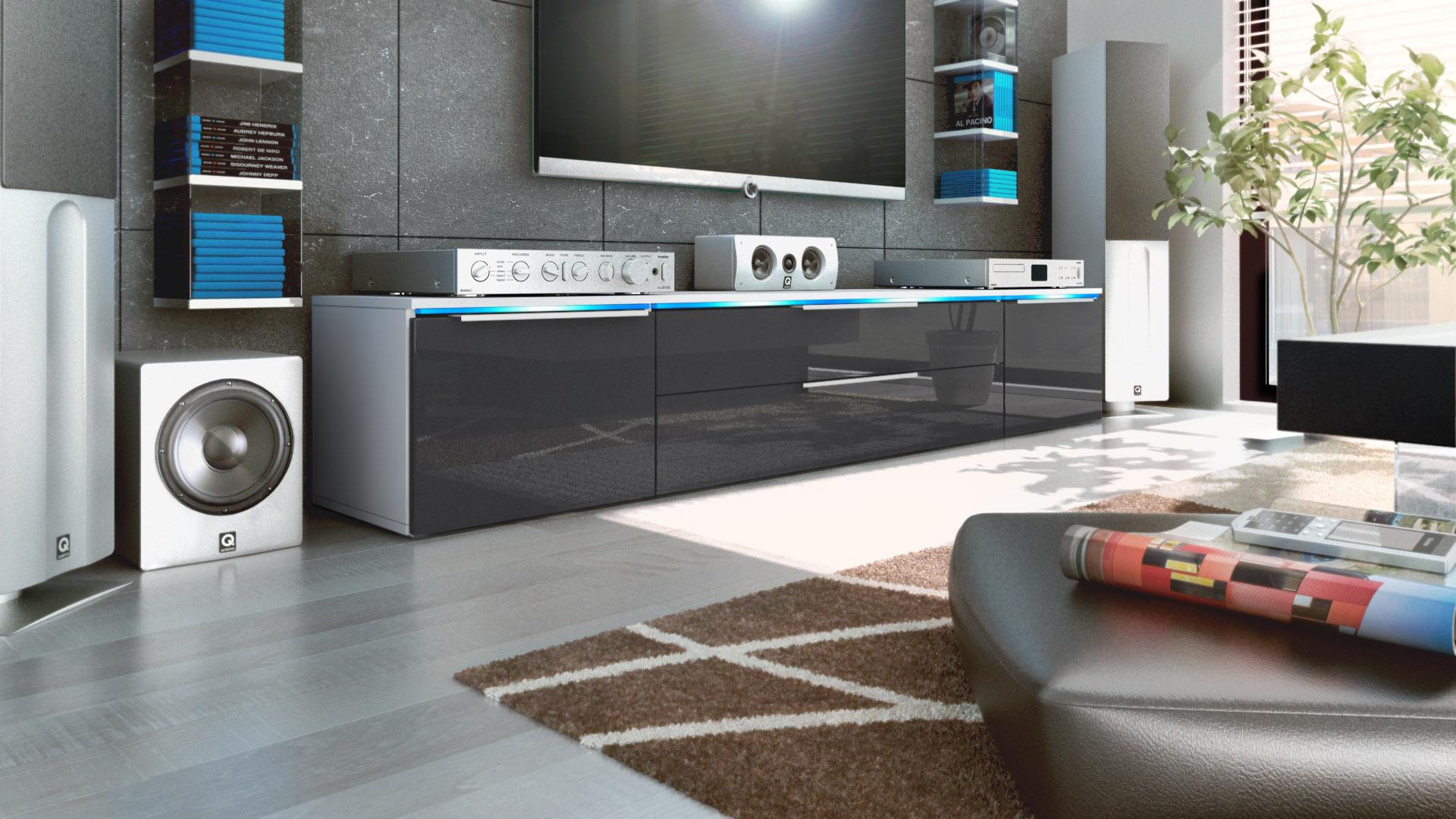 tv unit stand cabinet triest white matt high gloss. Black Bedroom Furniture Sets. Home Design Ideas