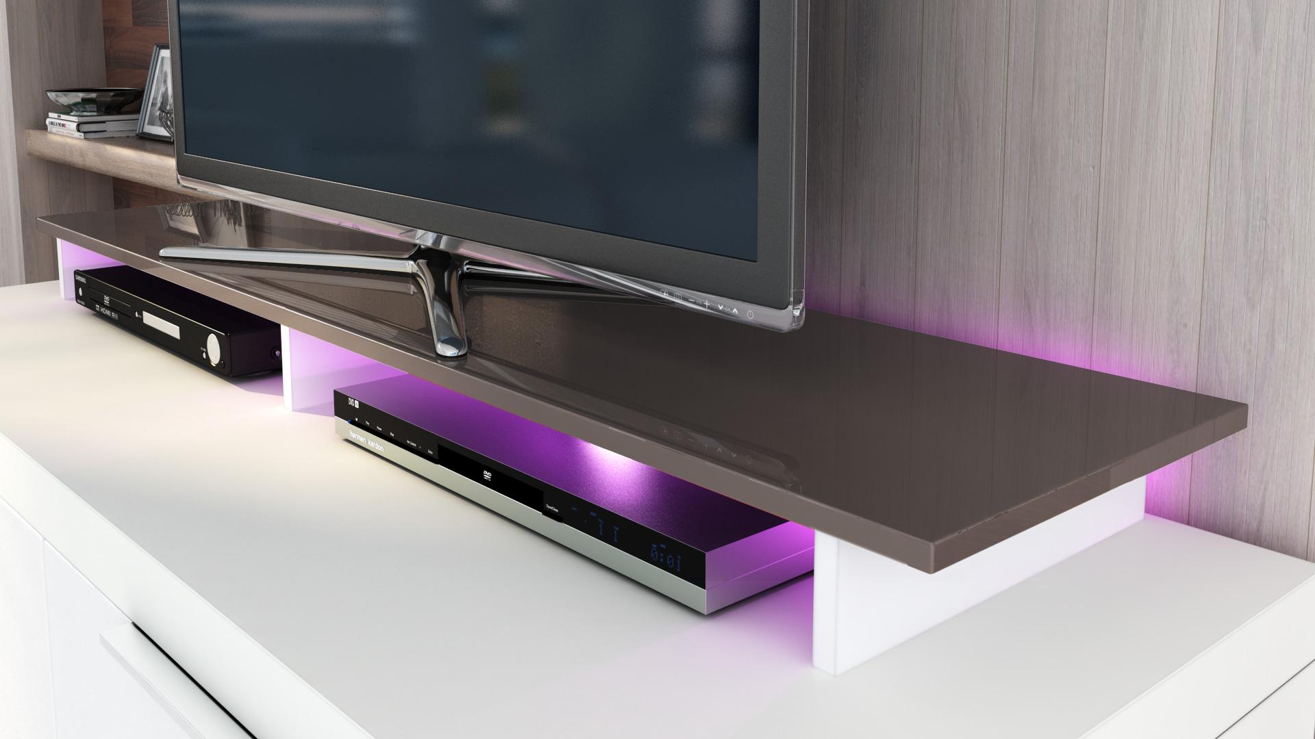tv aufsatz fernsehkonsole monitor erh hung st nder game hochglanz naturt ne ebay. Black Bedroom Furniture Sets. Home Design Ideas