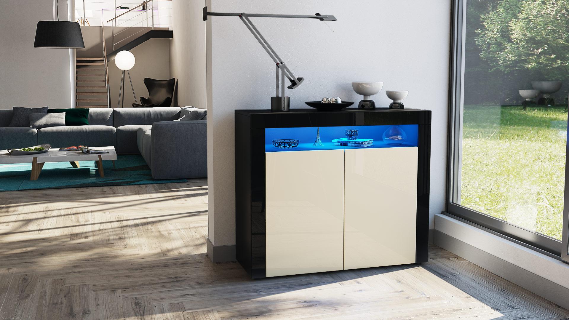 kommode schrank anrichte sideboard valencia in schwarz hochglanz naturt ne ebay. Black Bedroom Furniture Sets. Home Design Ideas