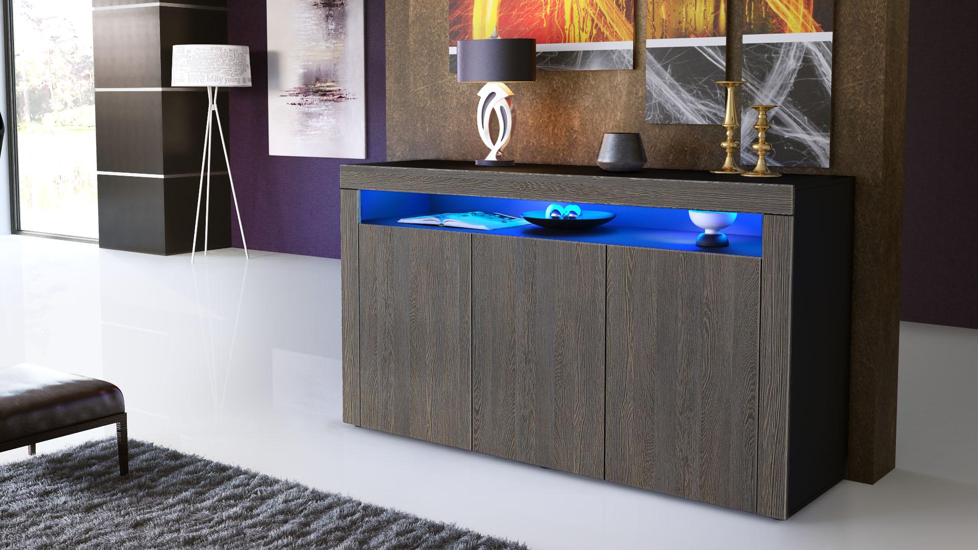 sideboard kommode anrichte highboard valencia in schwarz. Black Bedroom Furniture Sets. Home Design Ideas
