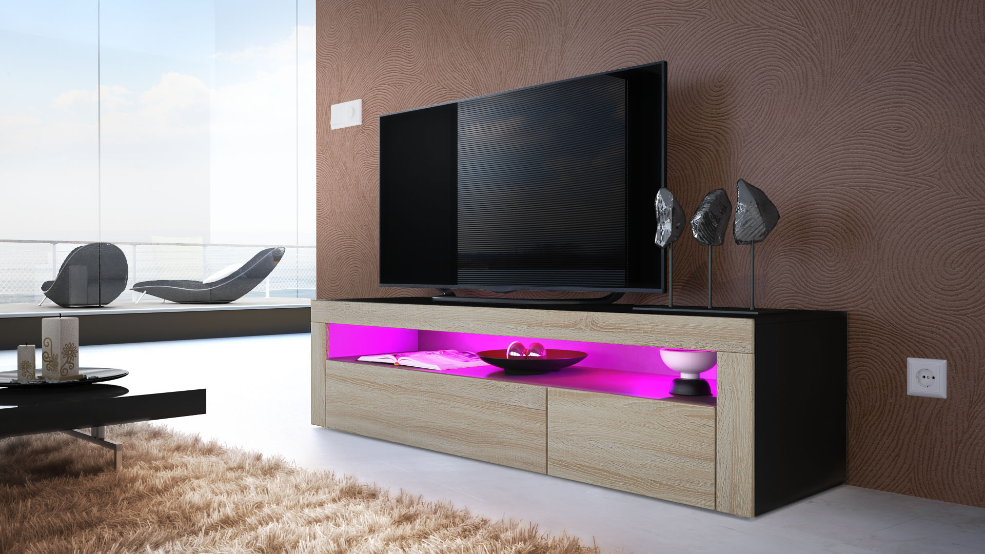 Armoire basse meuble tv valencia en noir fa ades en for Armoire meuble tv