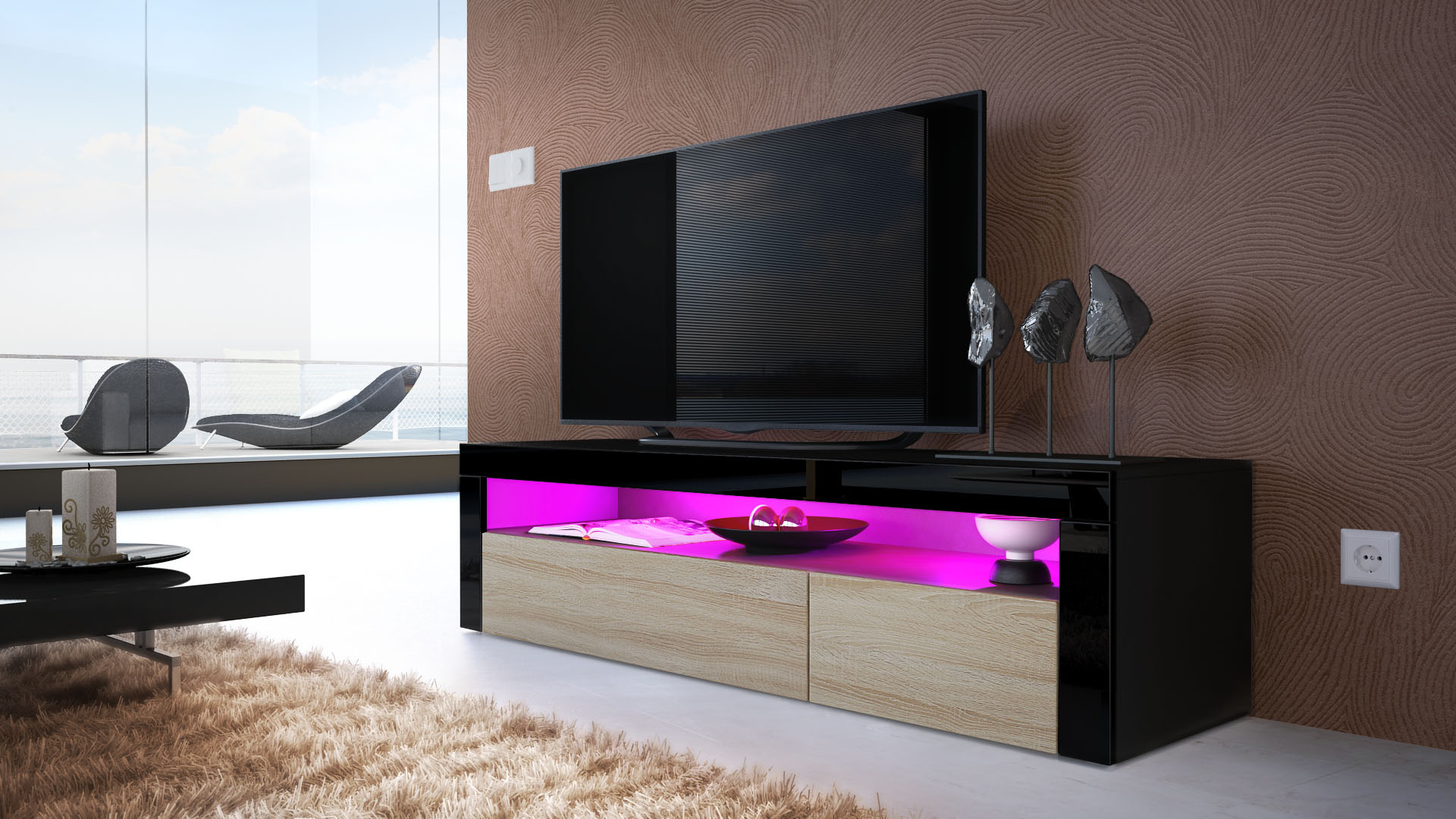 tv unit stand sideboard led valencia in black high gloss. Black Bedroom Furniture Sets. Home Design Ideas