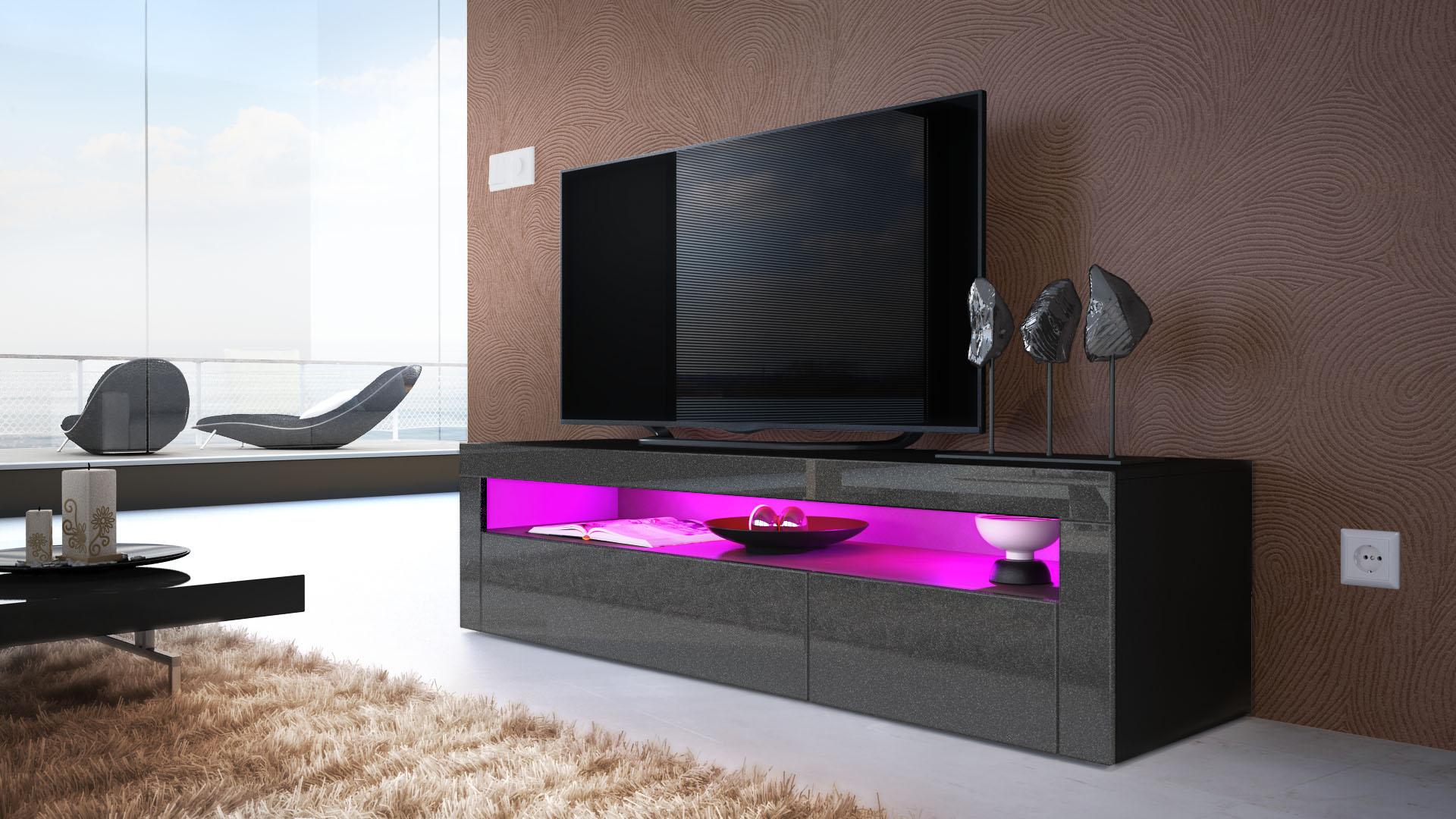 tv board lowboard unterschrank rack valencia in schwarz. Black Bedroom Furniture Sets. Home Design Ideas