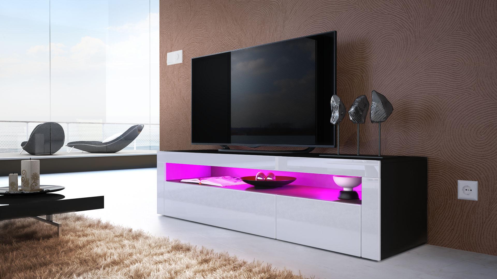 tv board lowboard unterschrank rack valencia in schwarz hochglanz naturt ne. Black Bedroom Furniture Sets. Home Design Ideas